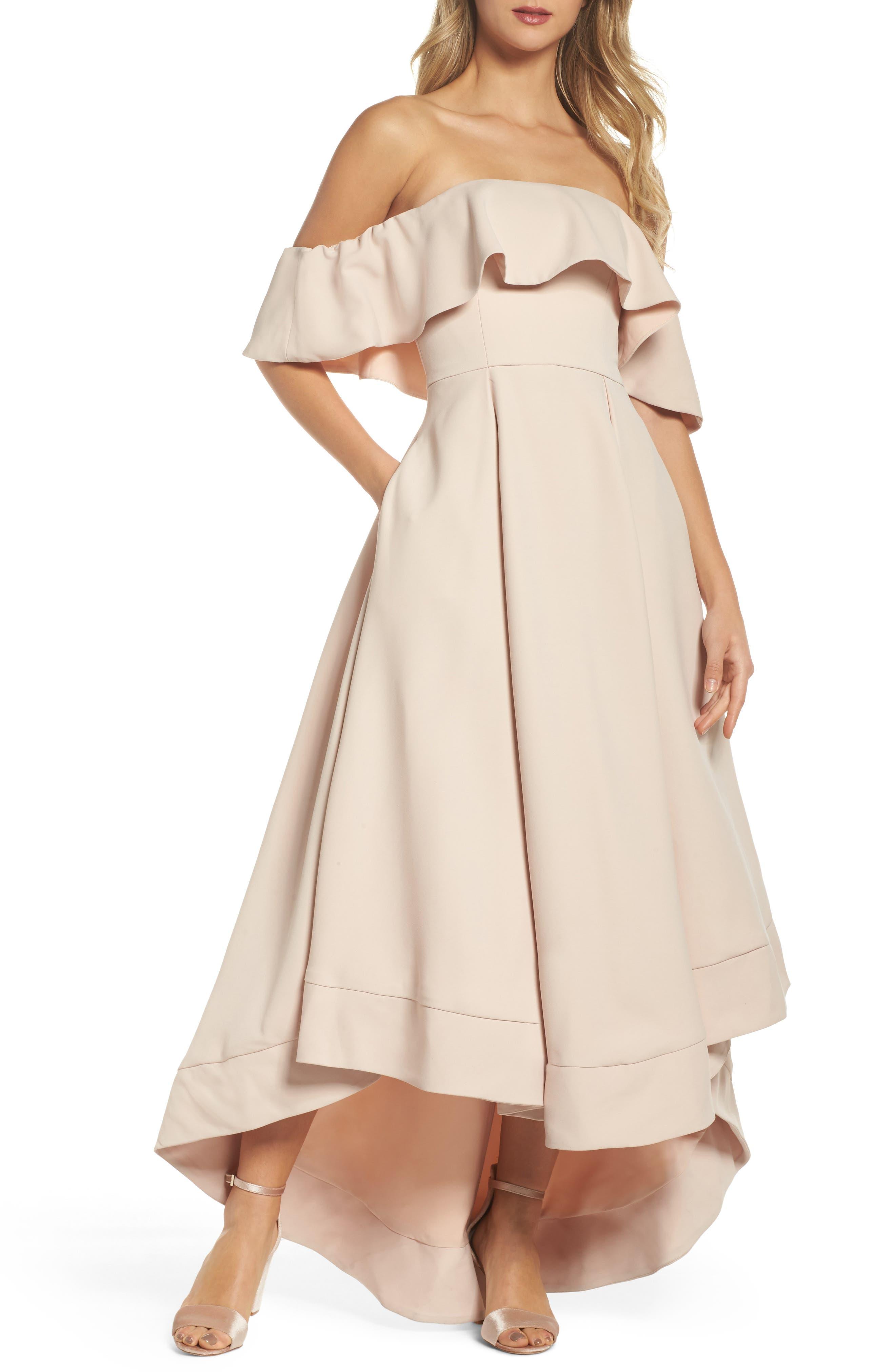 Temptation Off the Shoulder Ballgown,                         Main,                         color, Blush
