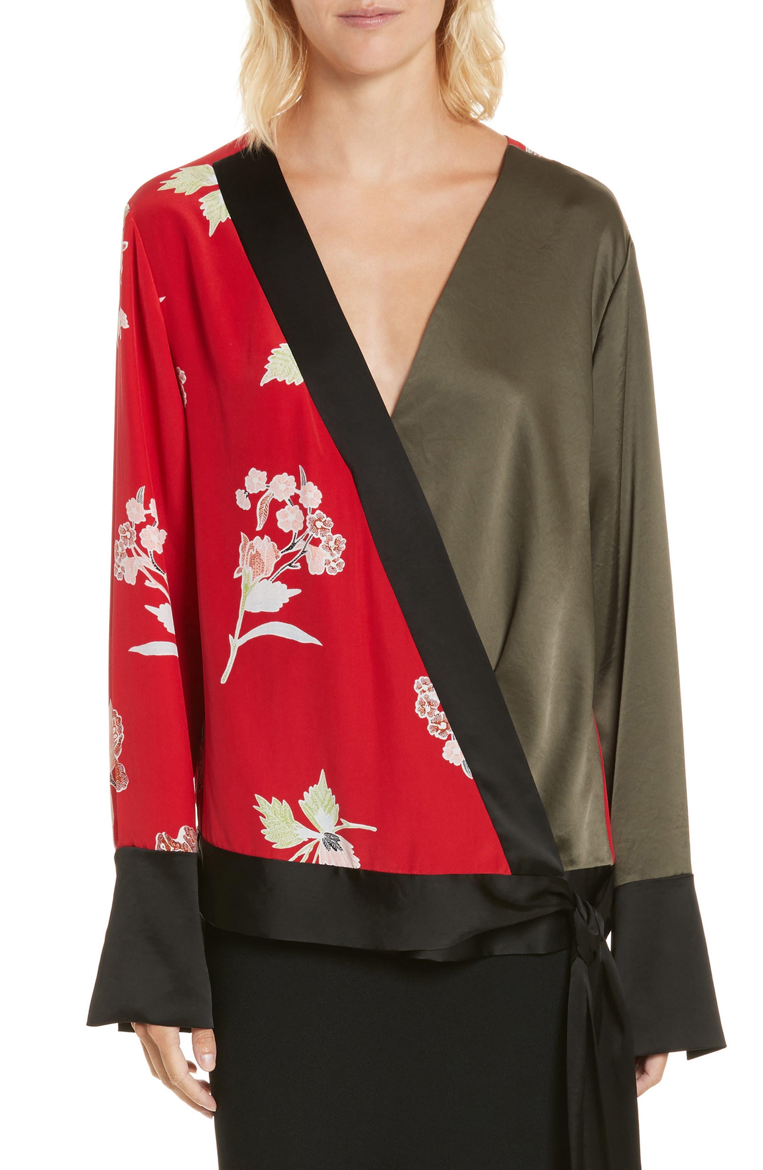 Diane von Furstenberg Bell Sleeve Crossover Silk Blouse,                         Main,                         color, Everton Lipstick/ Olive