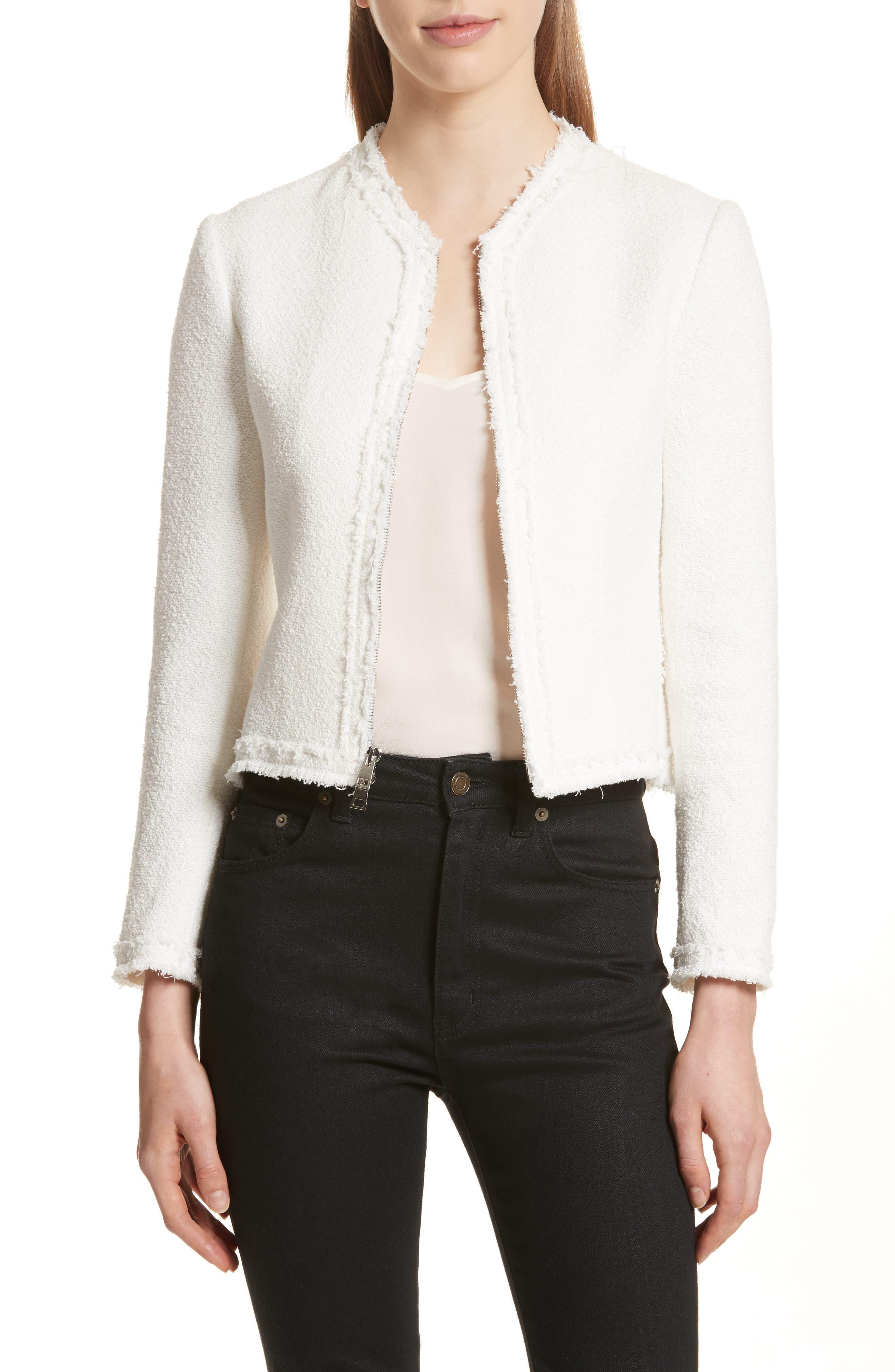 Flounce Jacket,                         Main,                         color, Ivory