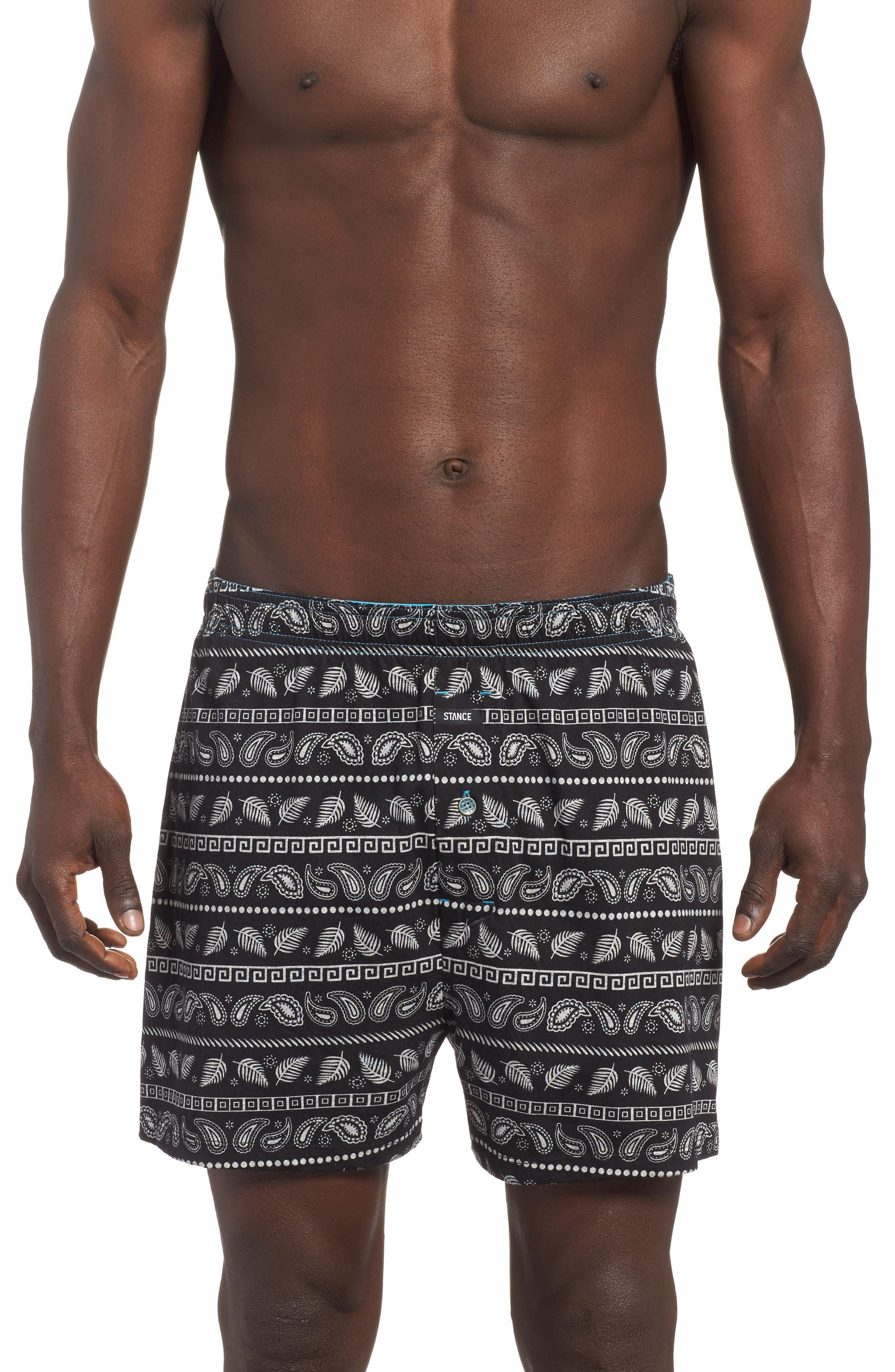 Paisley Stripe Boxers,                         Main,                         color, Black