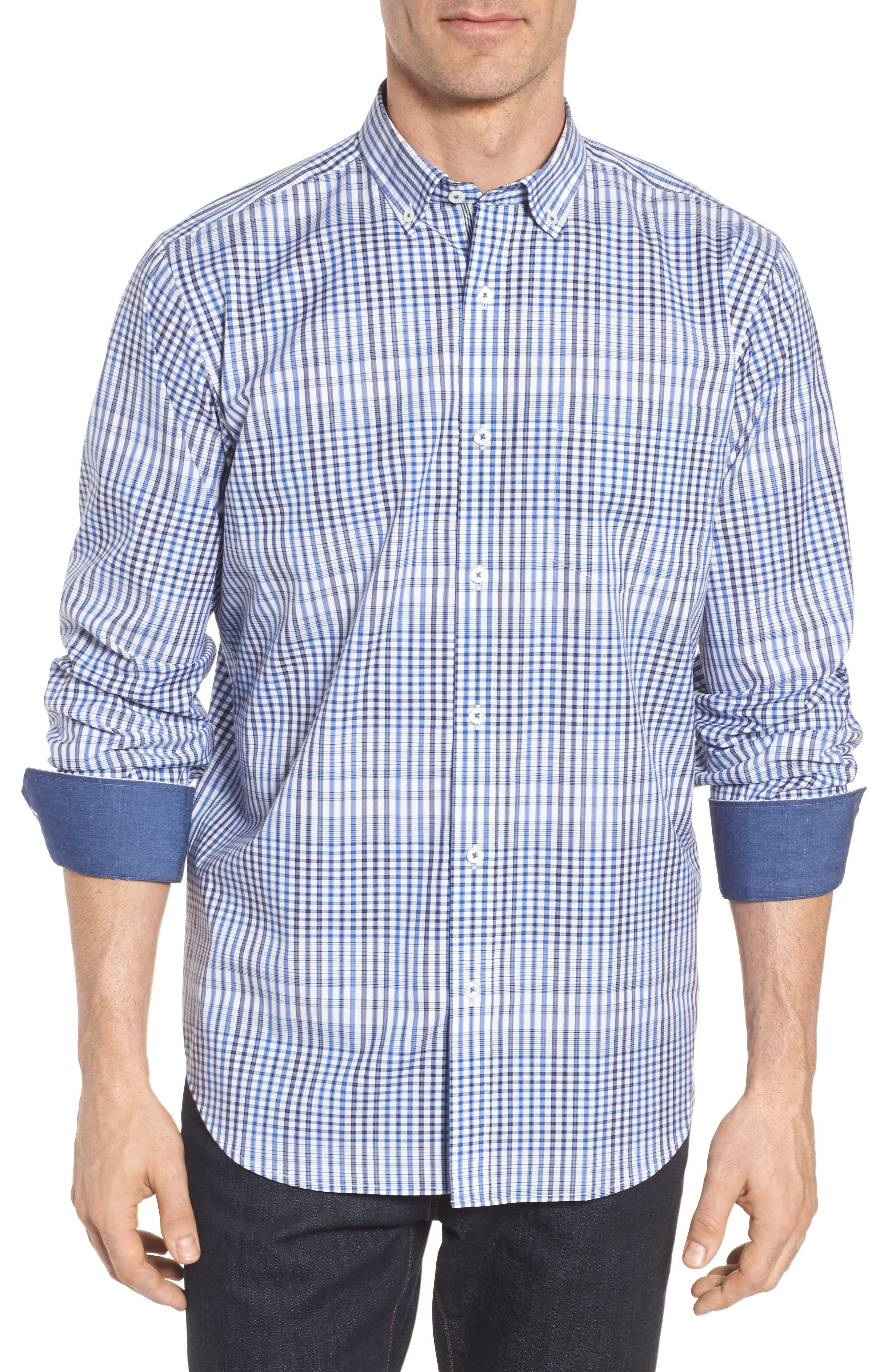 Classic Fit Plaid Sport Shirt,                         Main,                         color, Classic Blue