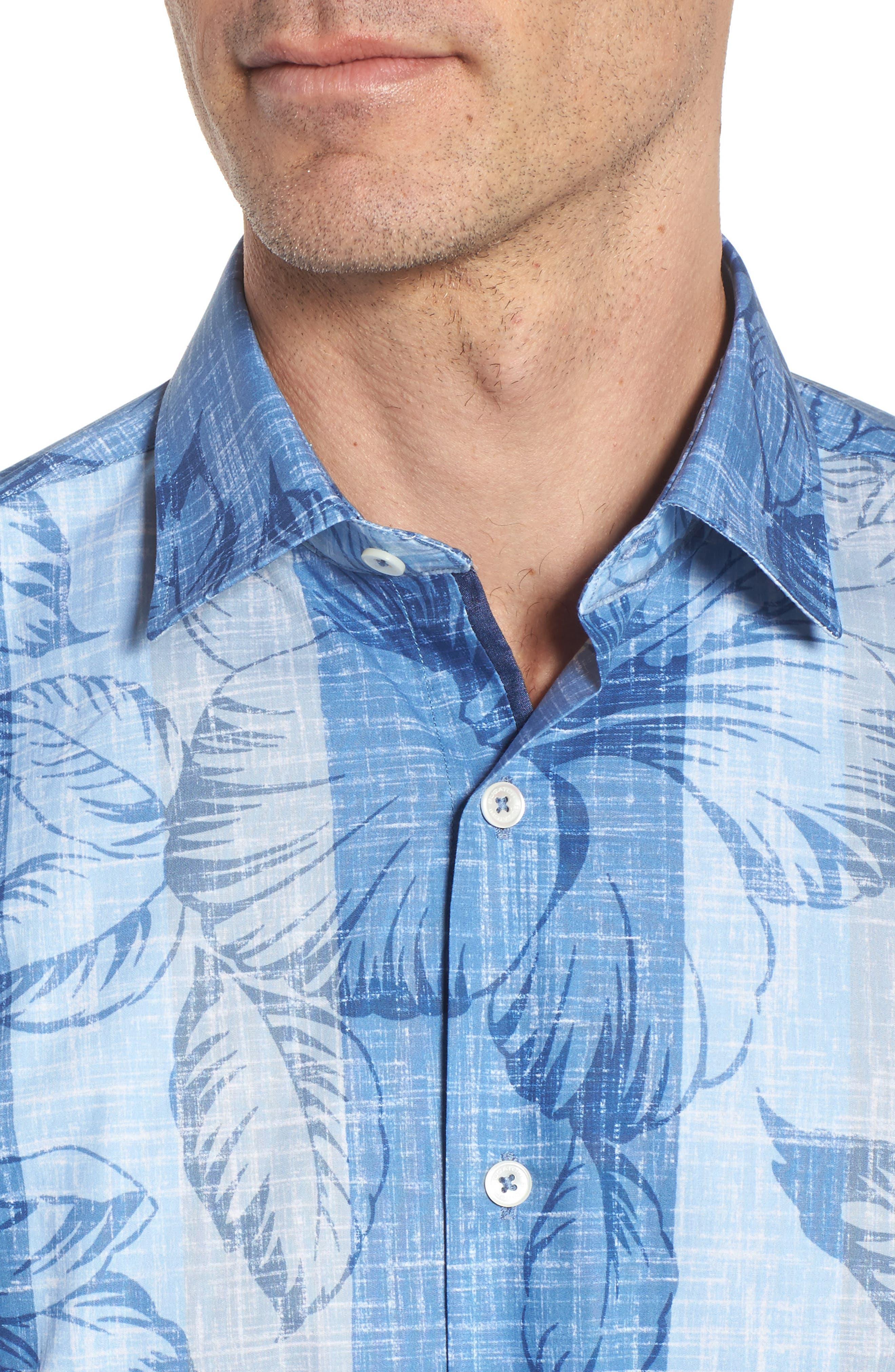 Alternate Image 4  - Bugatchi Classic Fit Floral Sport Shirt