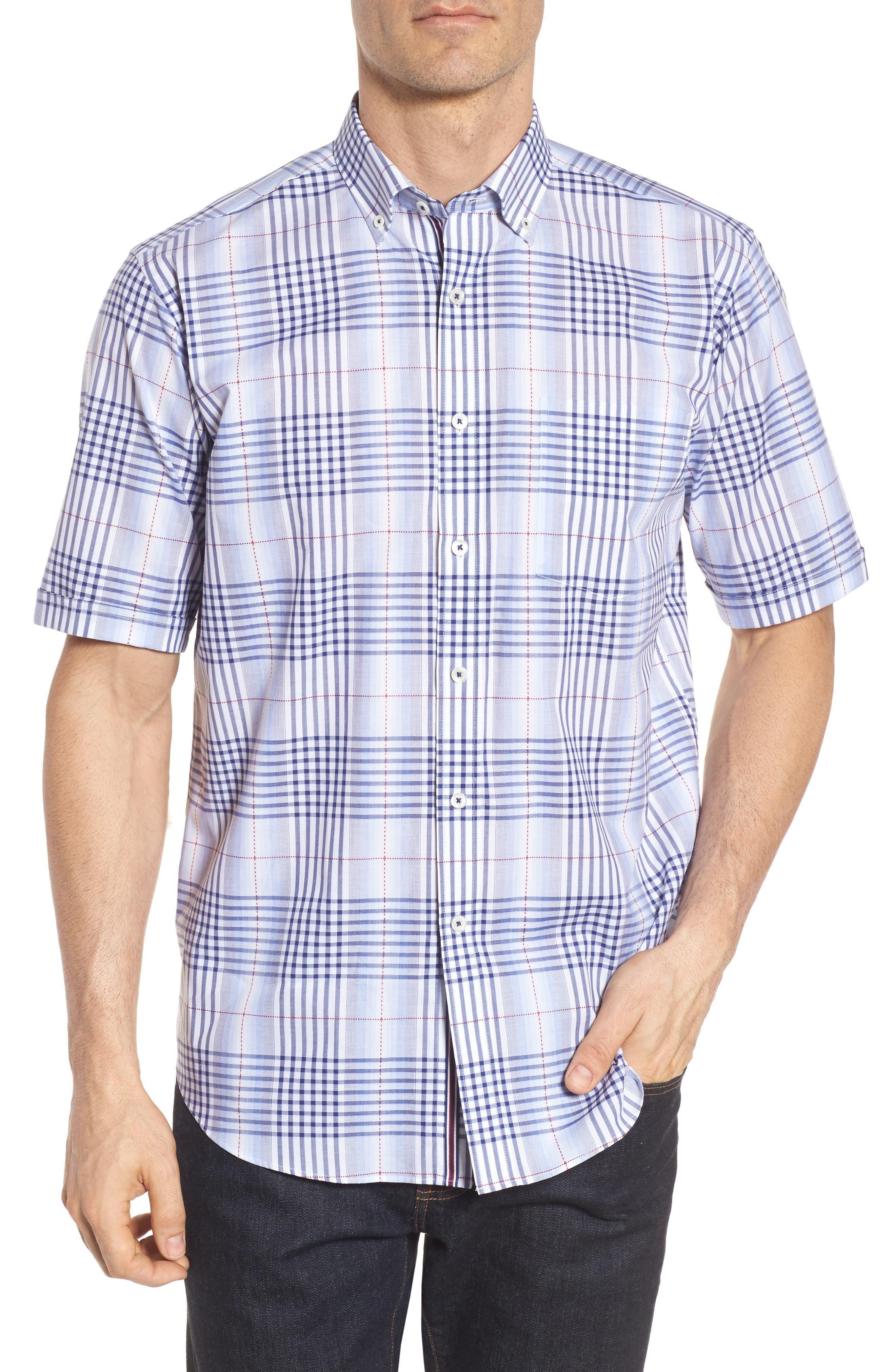 Classic Fit Plaid Sport Shirt,                         Main,                         color, Navy