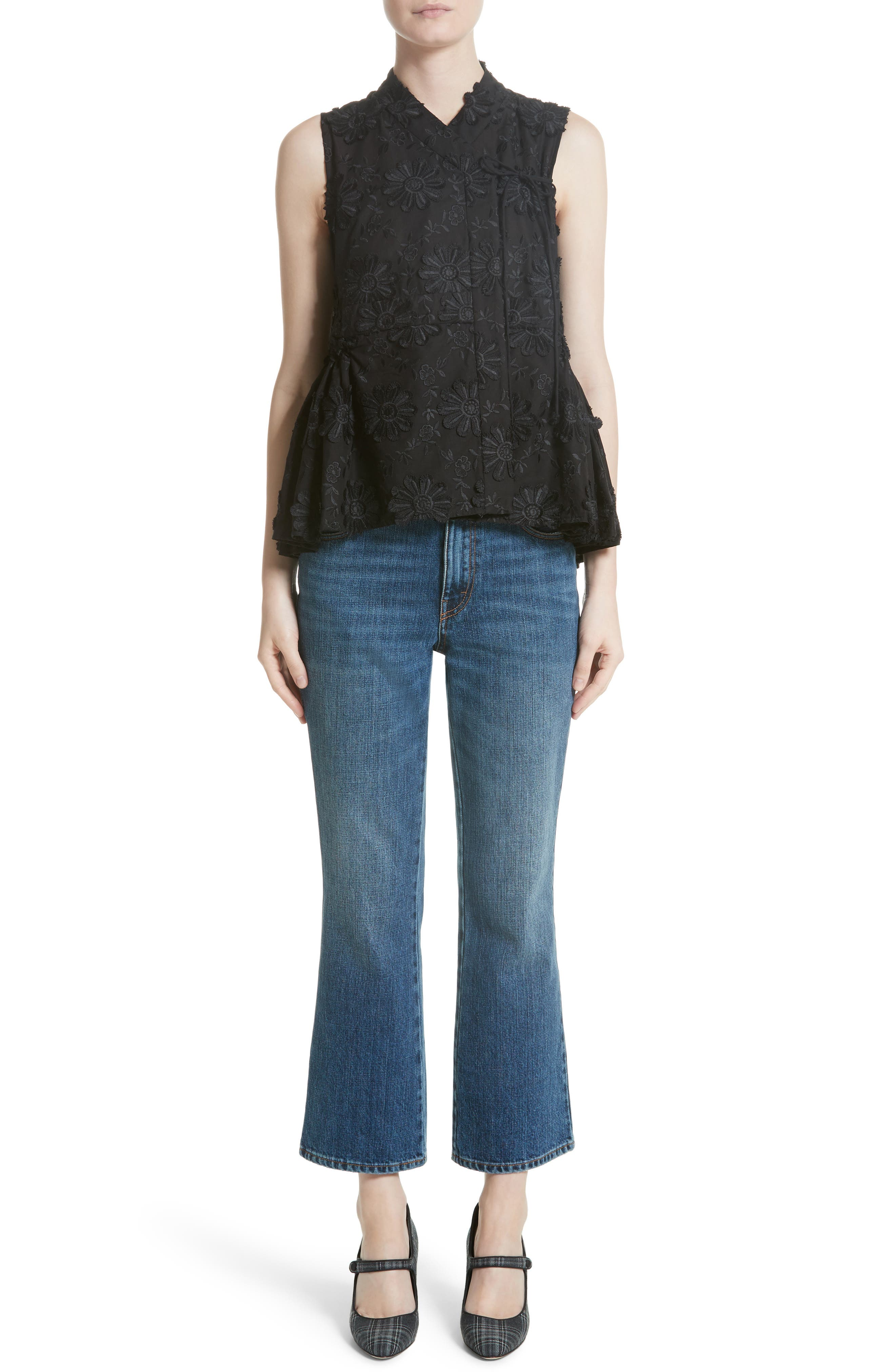 Floral Embroidered Peplum top,                             Alternate thumbnail 8, color,                             Black