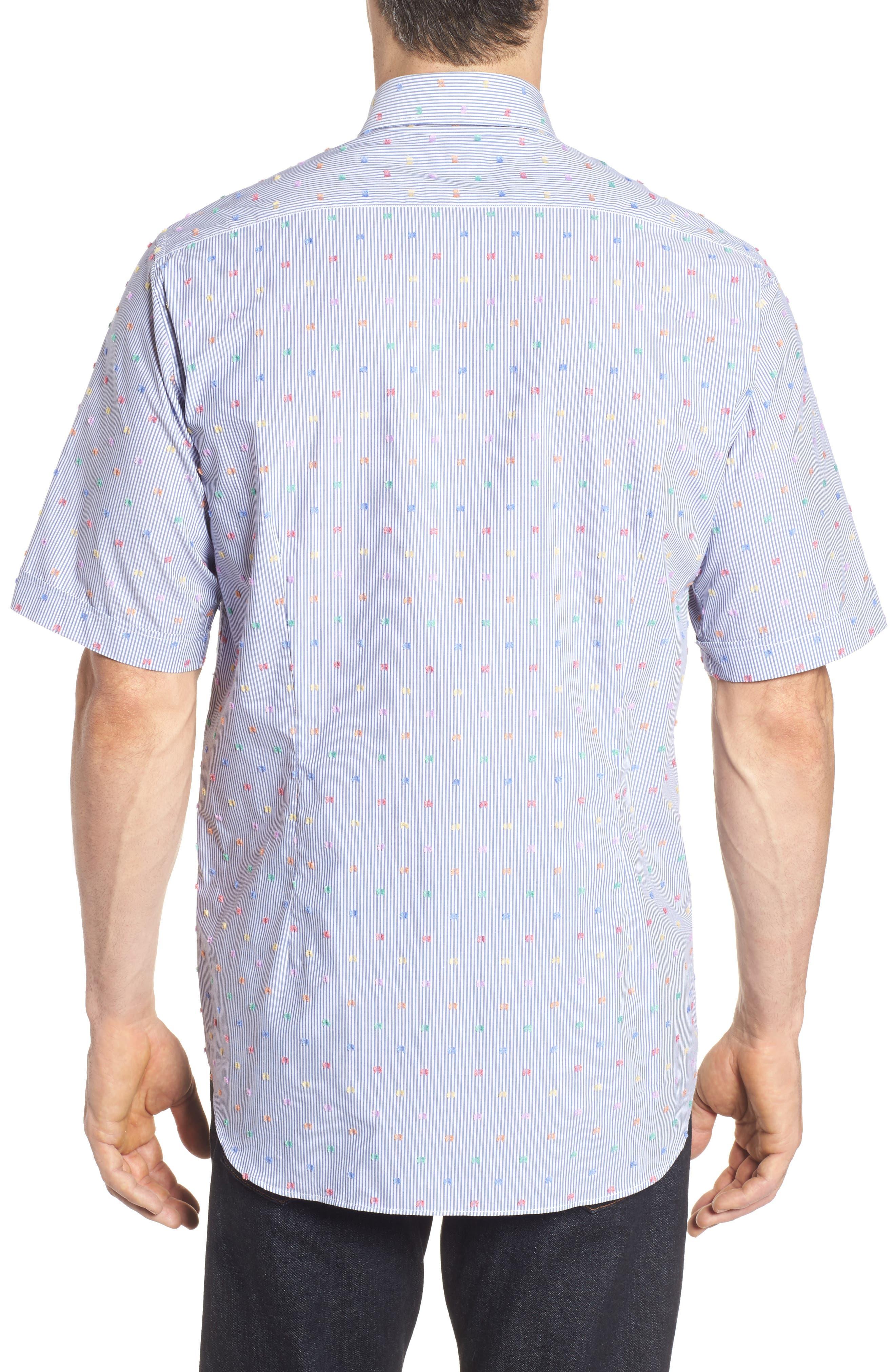 Paul&Shark Fin Stripe Sport Shirt,                             Alternate thumbnail 2, color,                             Blue/ White/ Multi