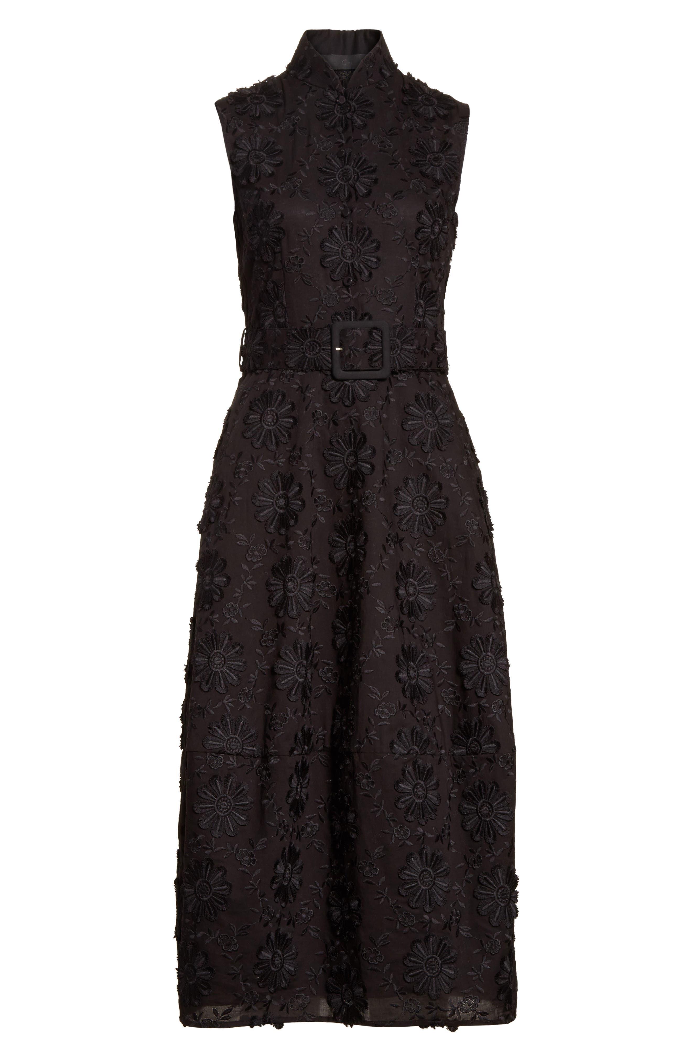 Floral Embroidered Dress,                             Alternate thumbnail 7, color,                             Black