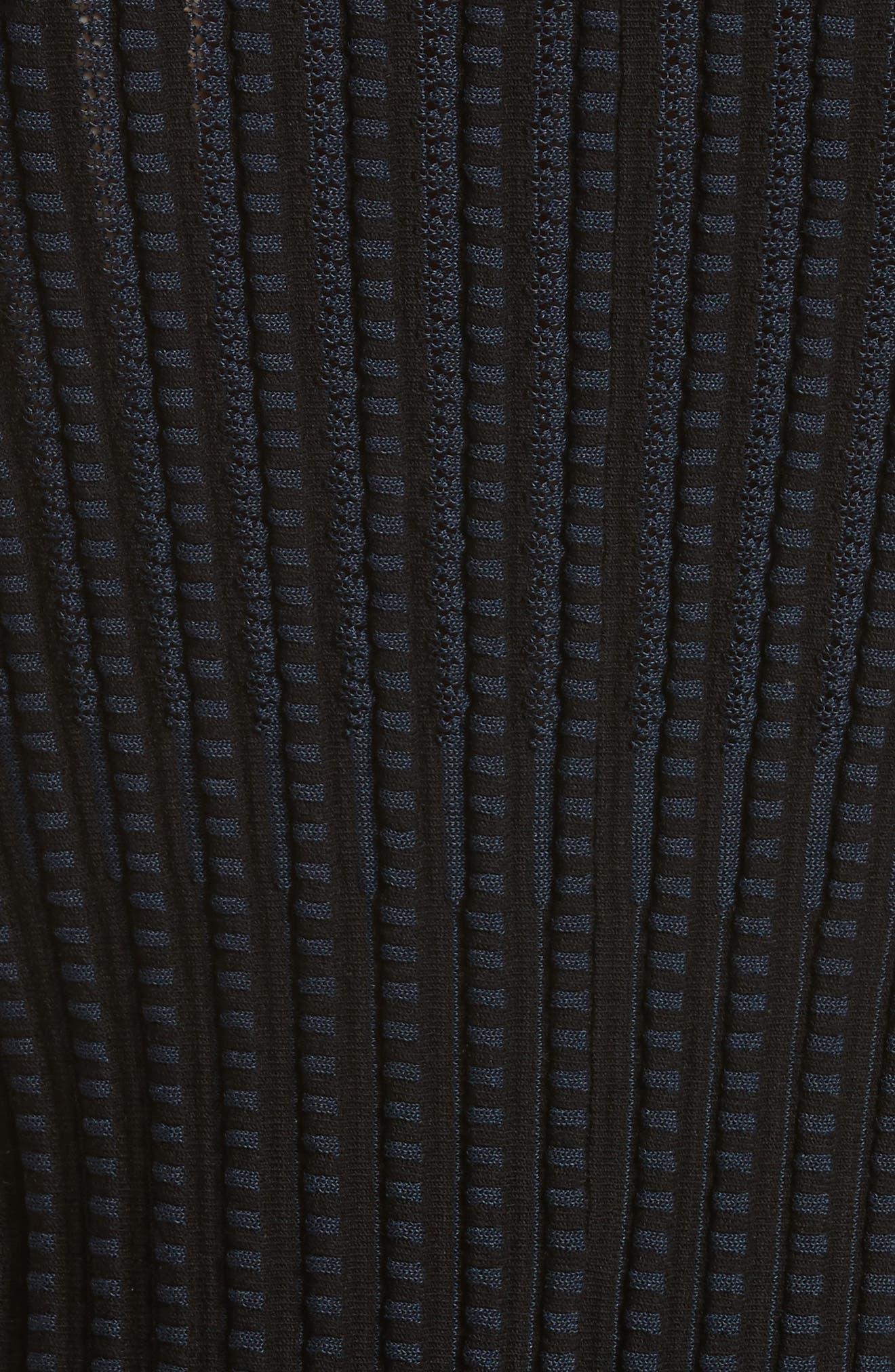 Check Pattern Knit Shell,                             Alternate thumbnail 5, color,                             Black/ Deep Navy