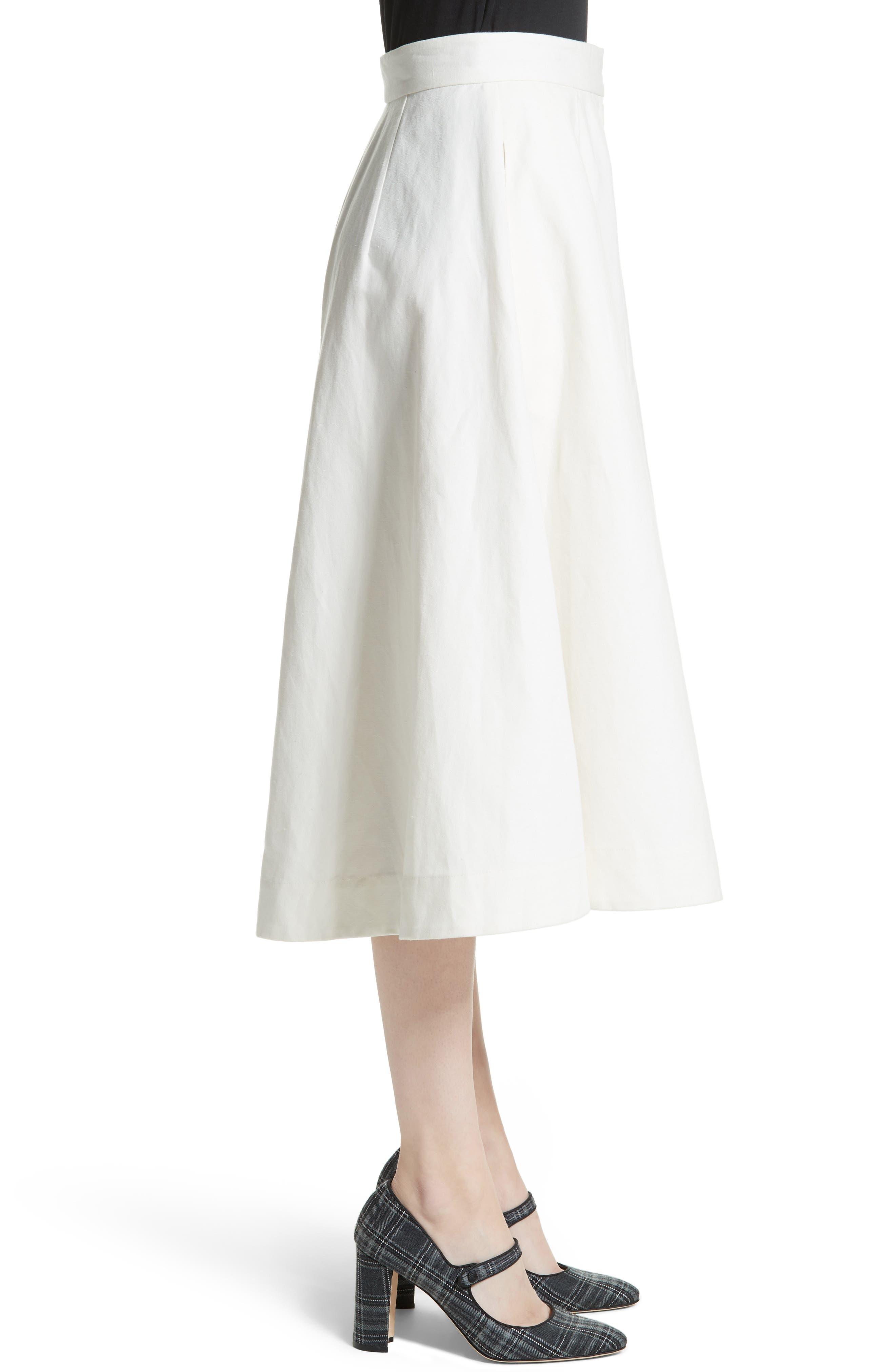 Linen & Cotton Crop Wide Leg Pants,                             Alternate thumbnail 4, color,                             Ivory