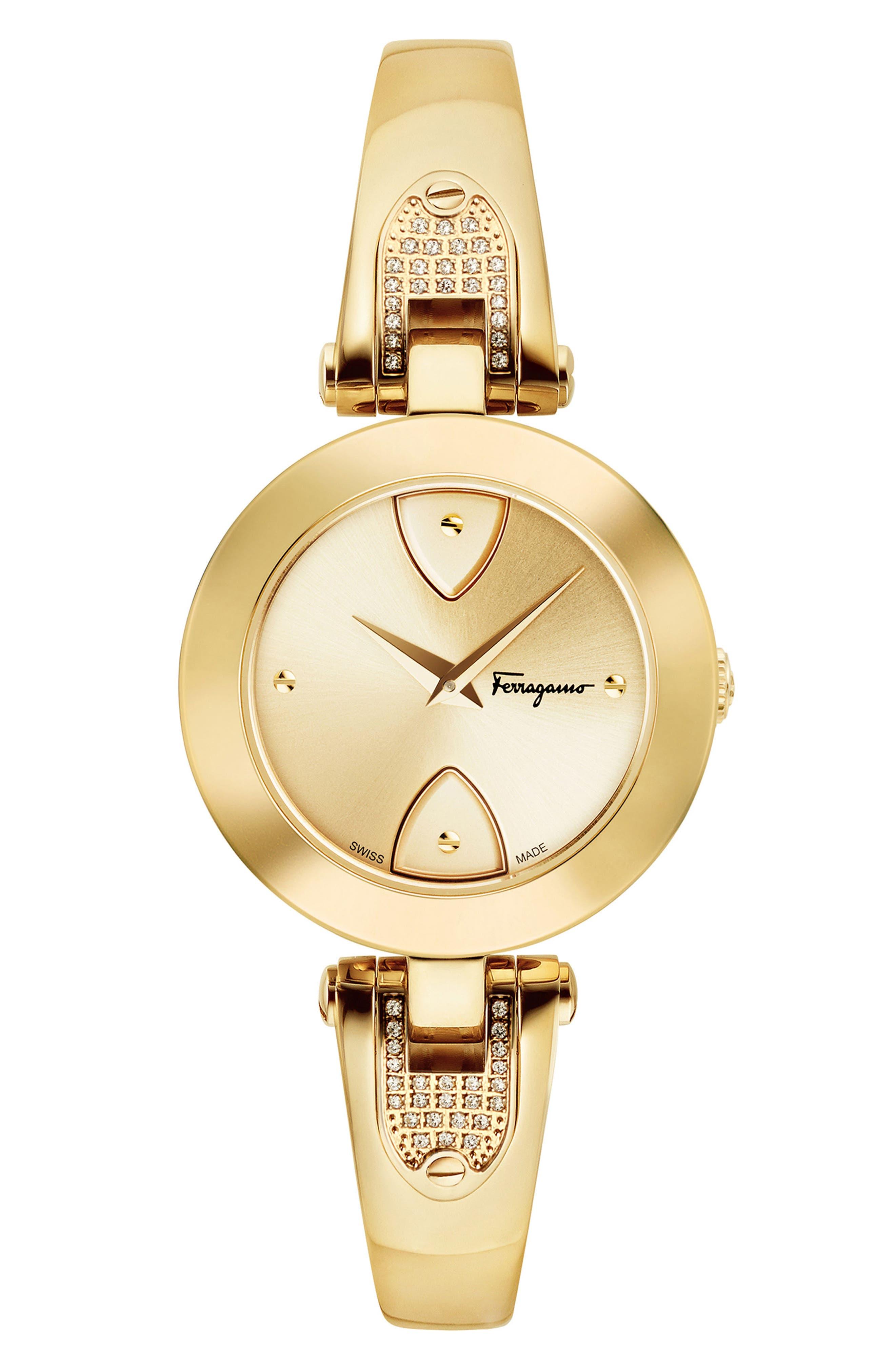 Gilion Diamond Bangle Watch, 32mm,                         Main,                         color, Gold