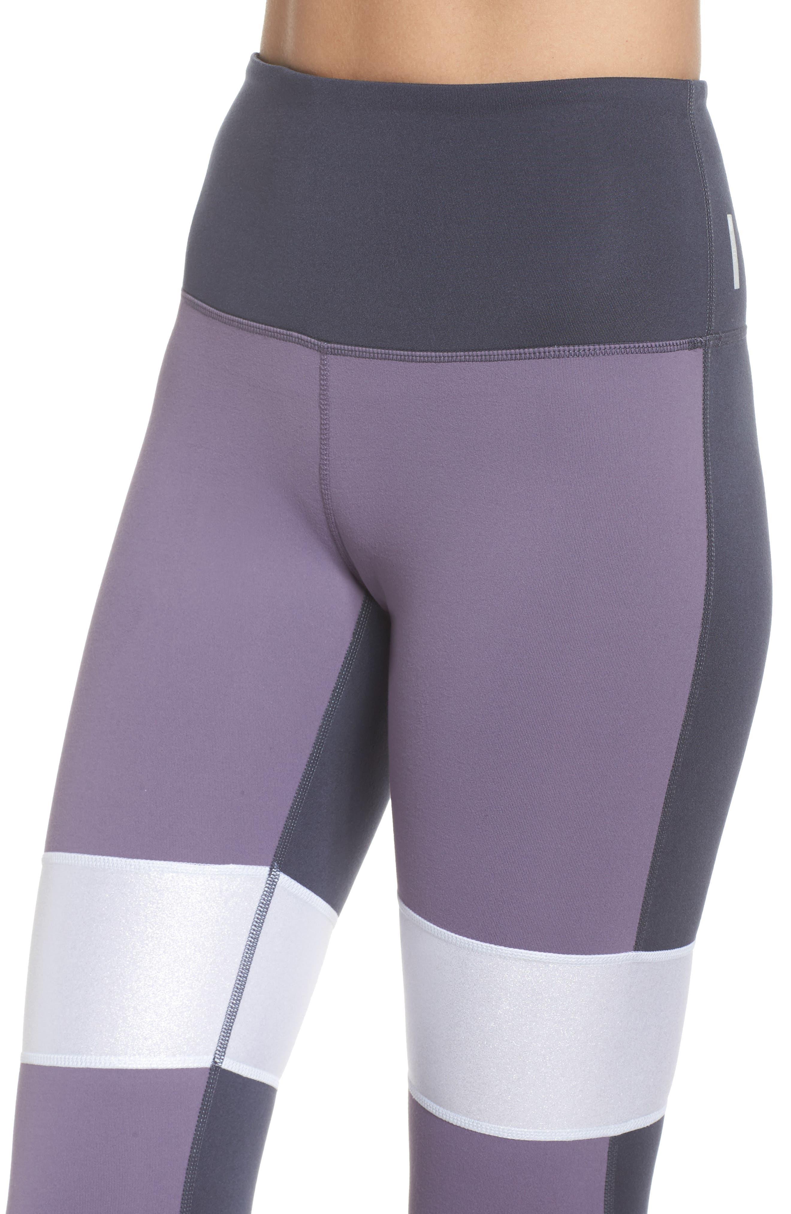 Around the Block High Waist Ankle Leggings,                             Alternate thumbnail 4, color,                             Purple Cadet