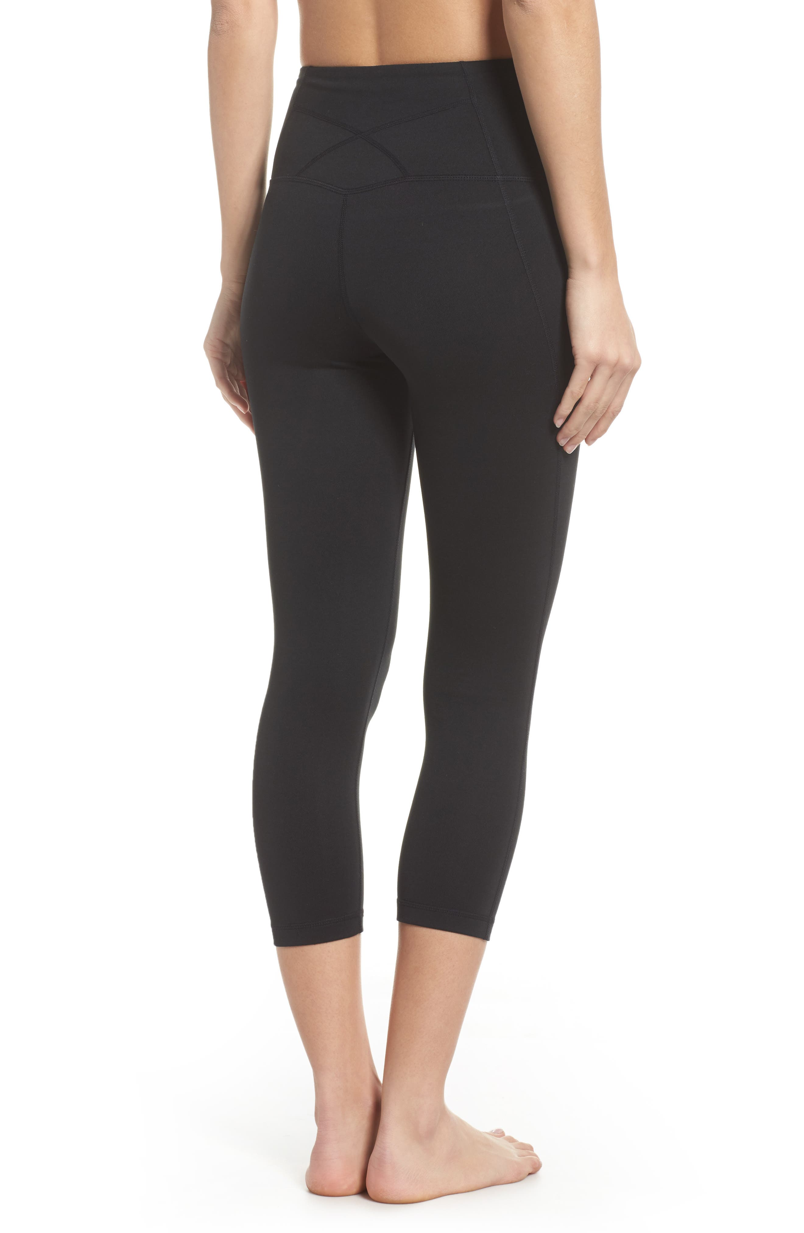 Live In High Waist Crop Leggings,                             Alternate thumbnail 2, color,                             Black
