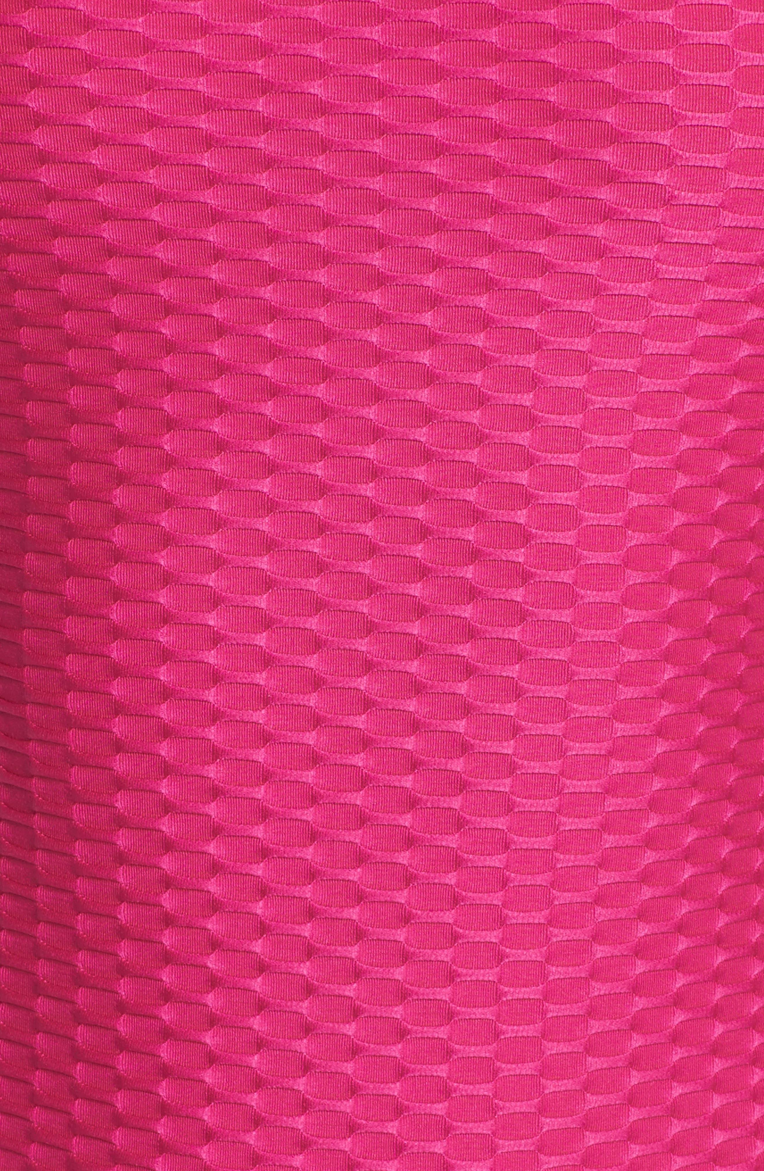 Long Sleeve One-Piece Swimsuit,                             Alternate thumbnail 5, color,                             Fuchsia
