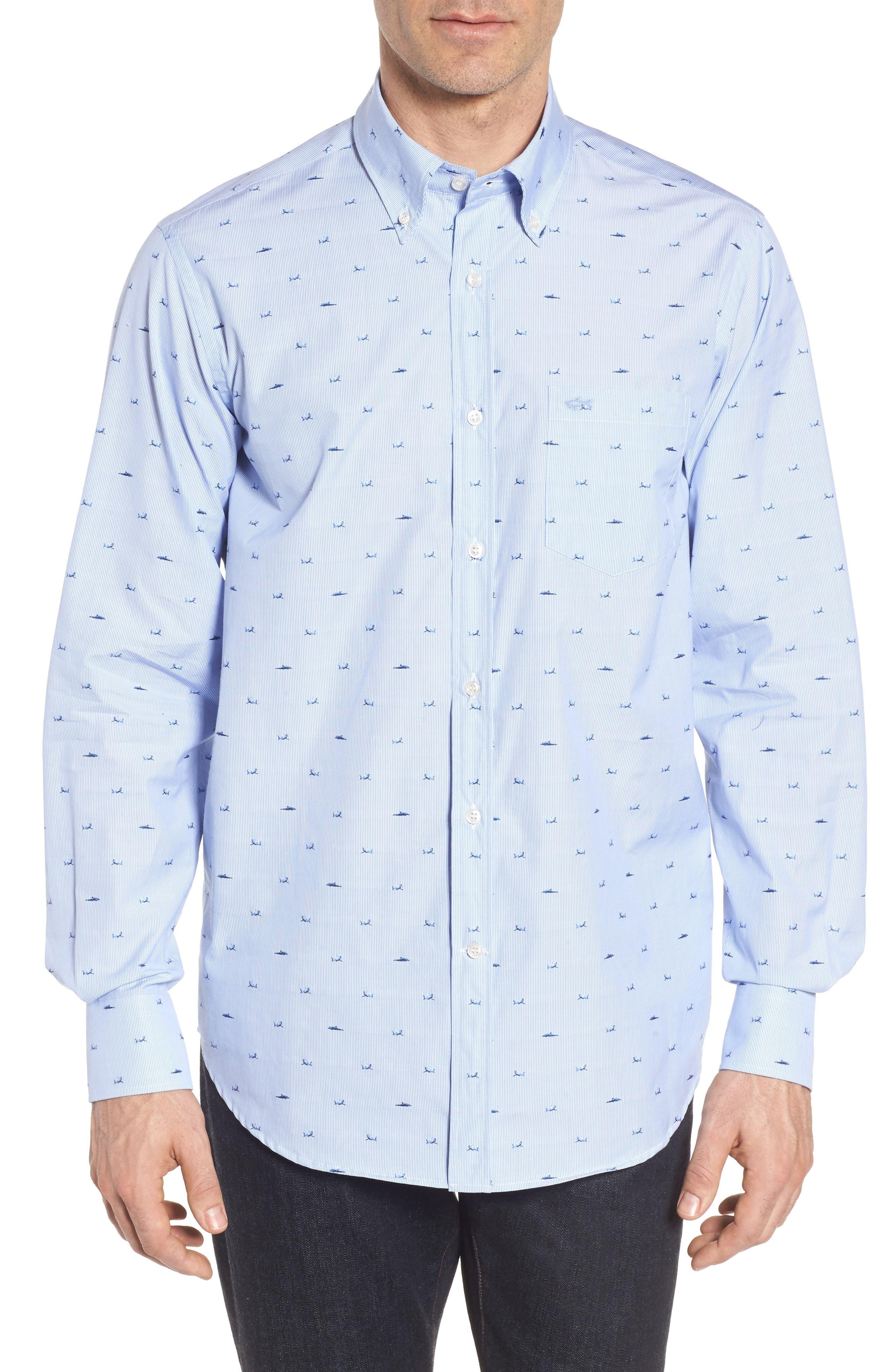 Paul&Shark Great White Jacquard Sport Shirt,                             Main thumbnail 1, color,                             Blue