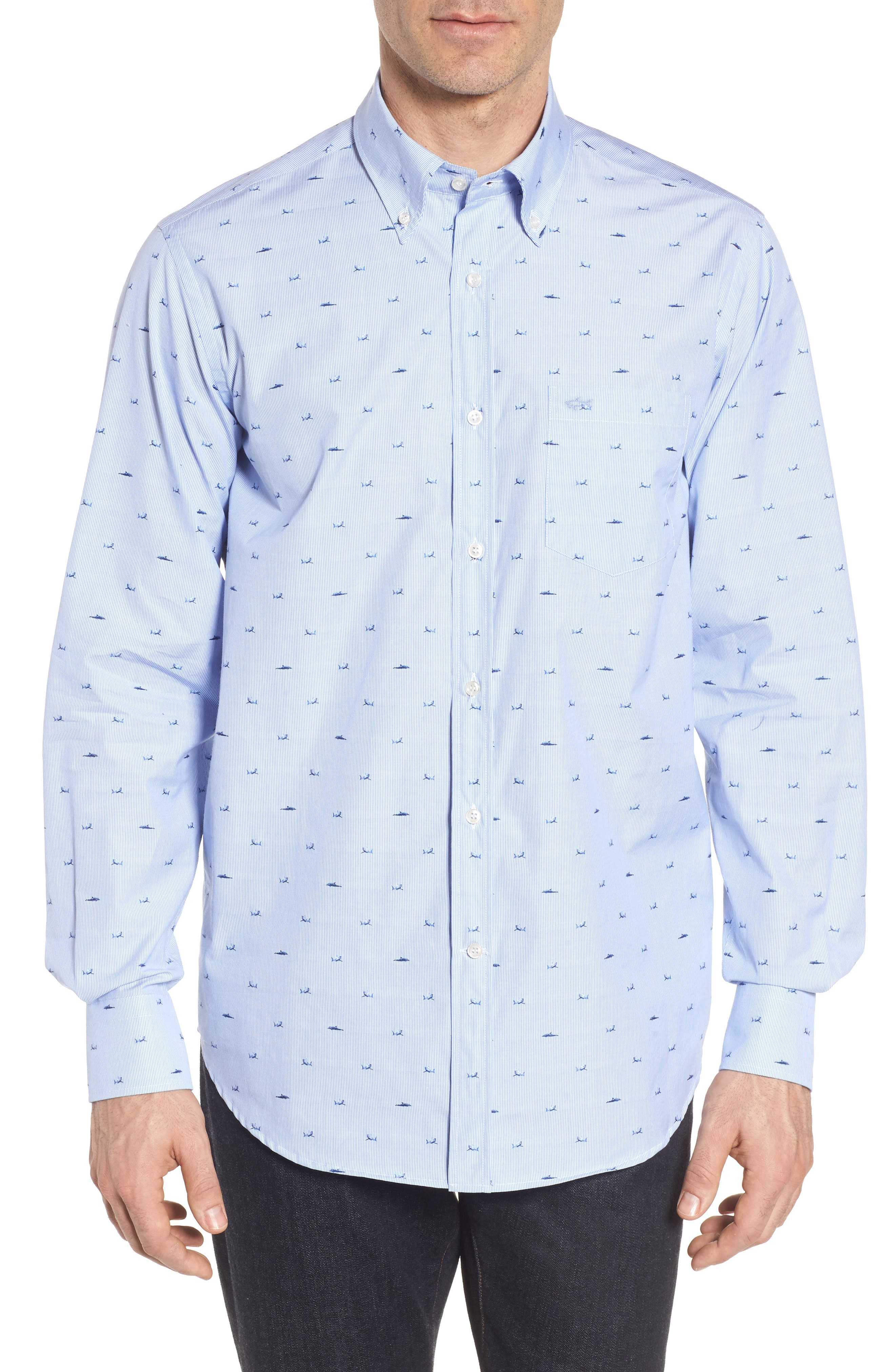 Paul&Shark Great White Jacquard Sport Shirt,                         Main,                         color, Blue