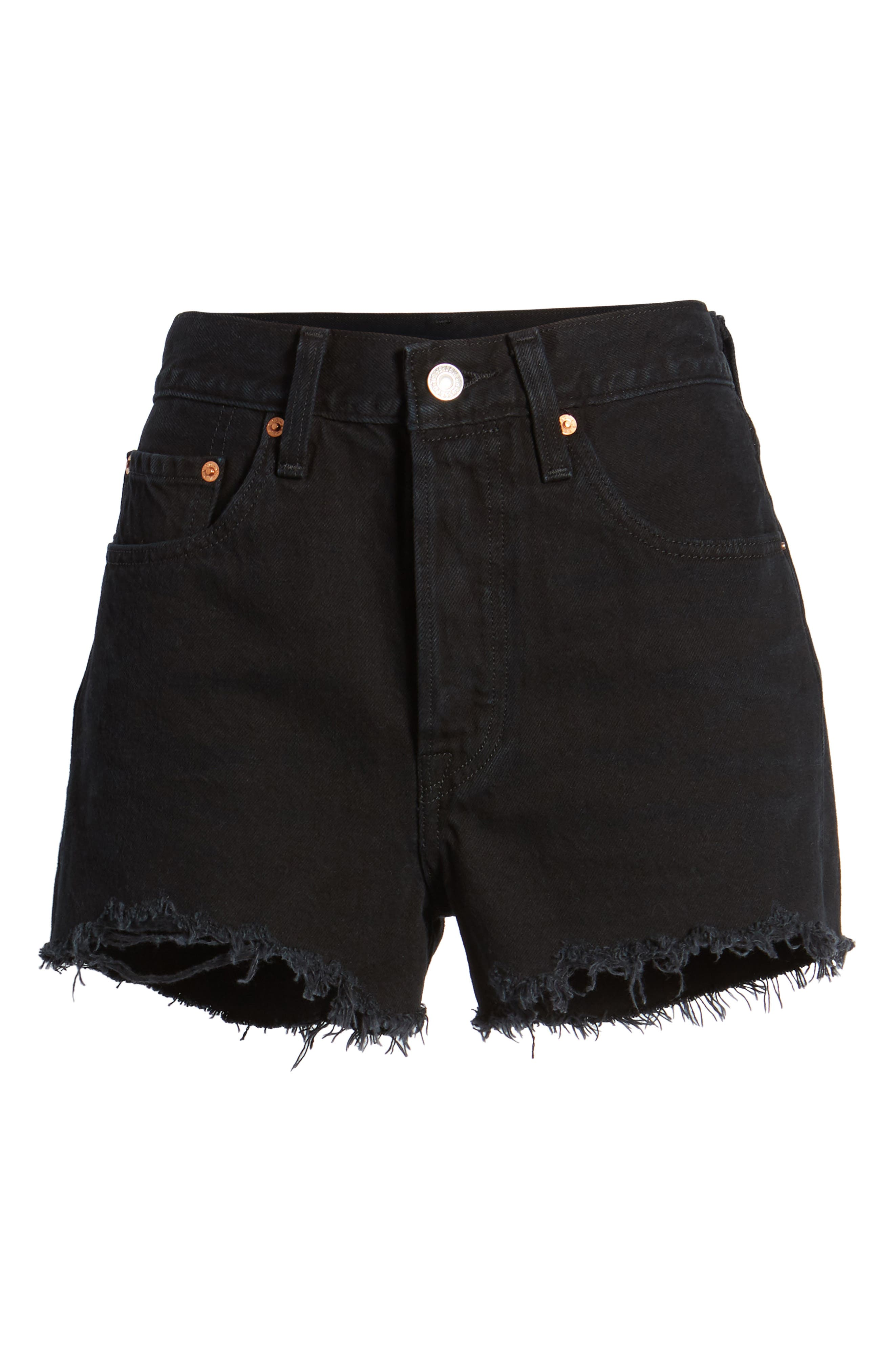 501<sup>®</sup> High Rise Denim Shorts,                             Alternate thumbnail 6, color,                             Darkest Hour