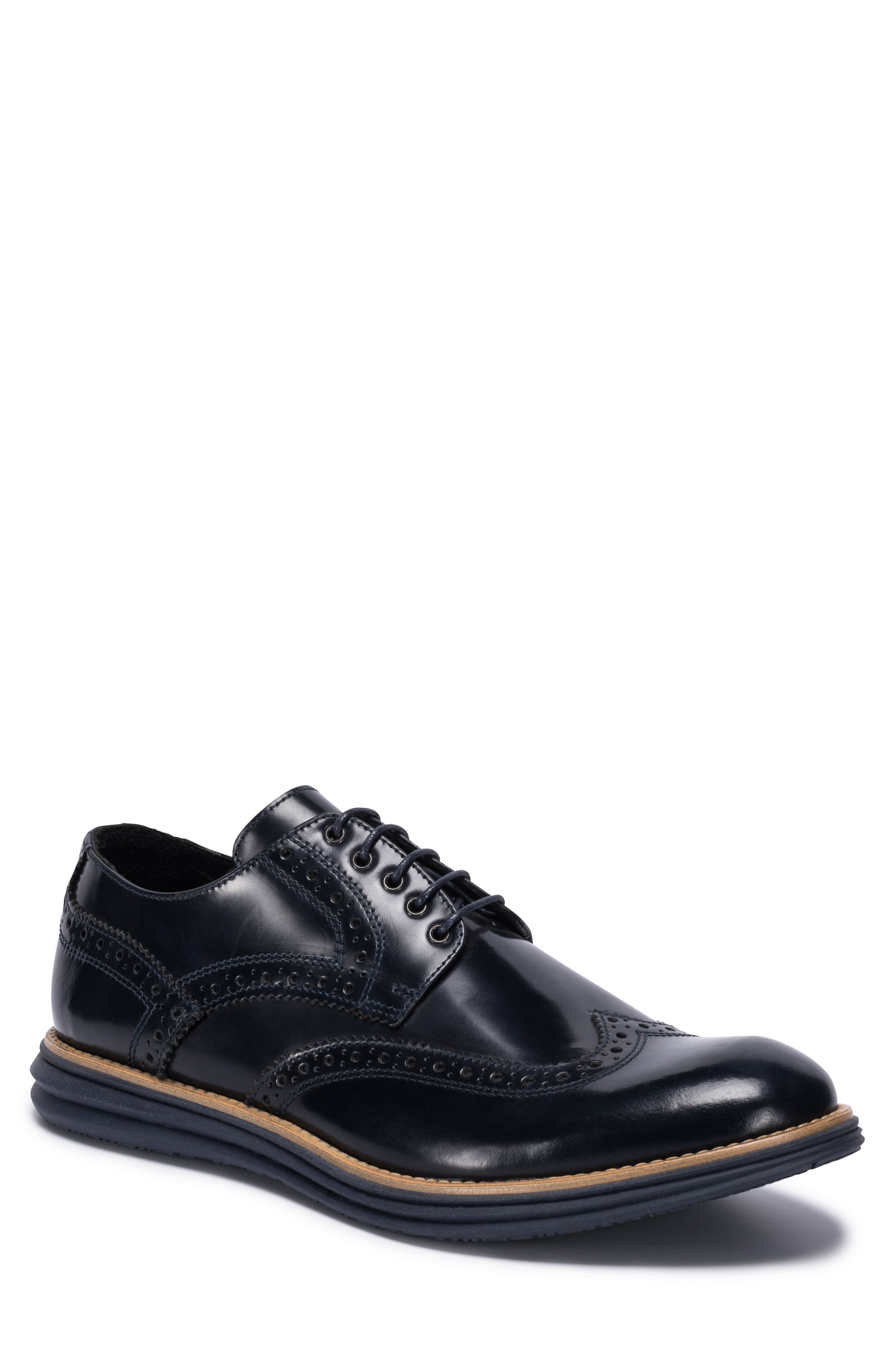 Novara Wingtip Derby,                             Main thumbnail 1, color,                             Navy Leather