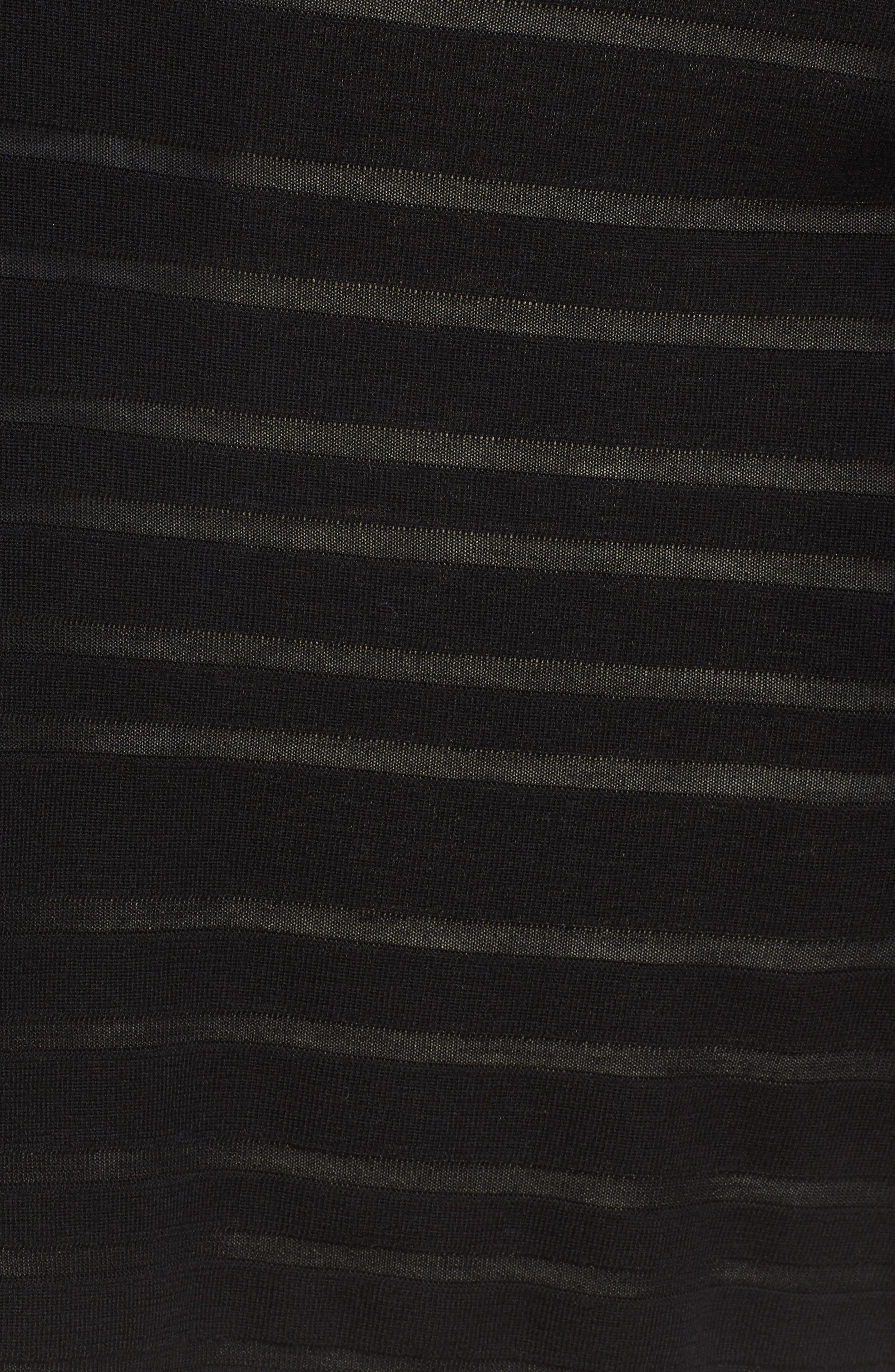 Fahsa Stripe Textured Wool Cardigan,                             Alternate thumbnail 5, color,                             Black