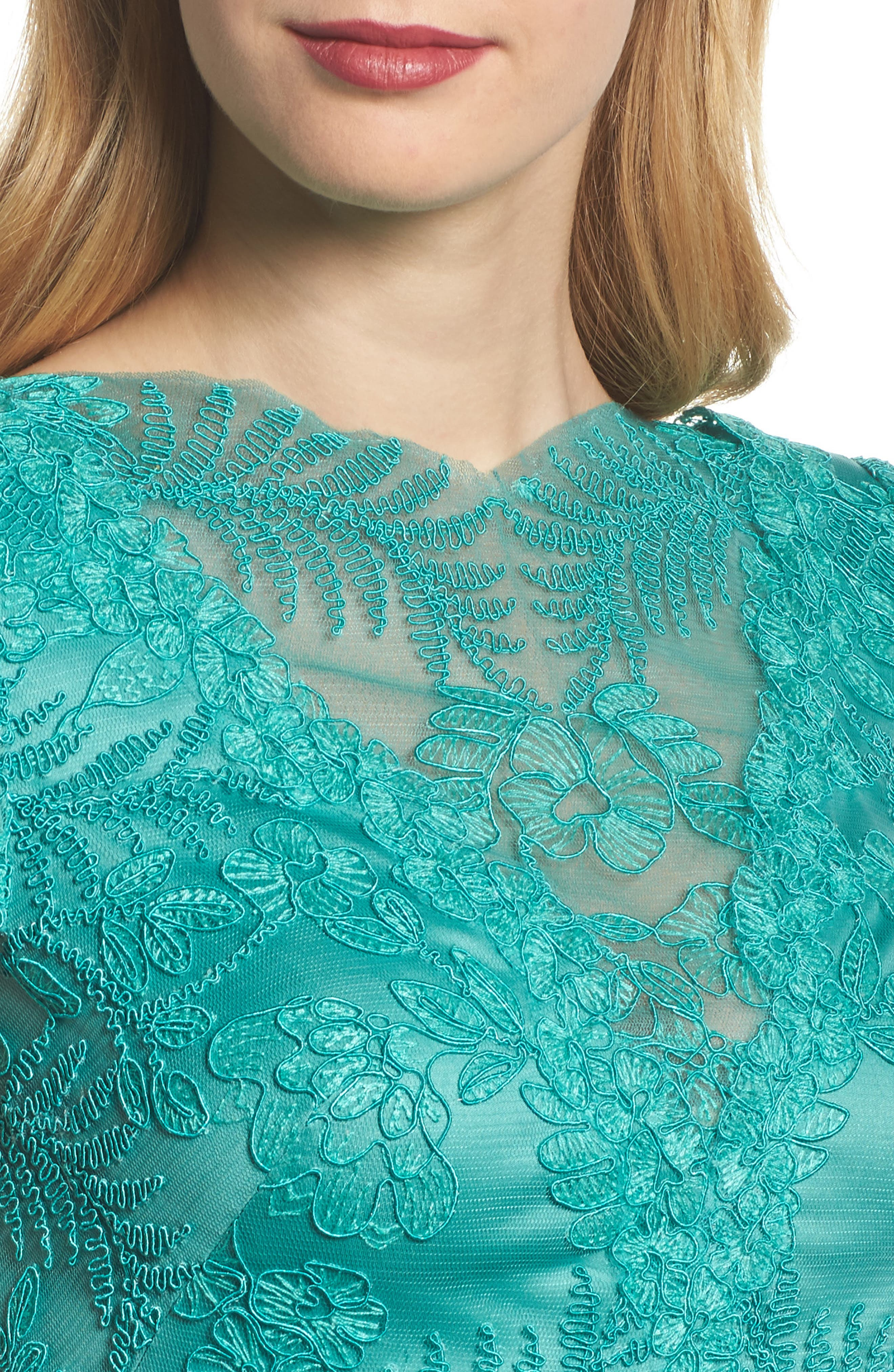 Embroidered Gown,                             Alternate thumbnail 4, color,                             Cool Aqua