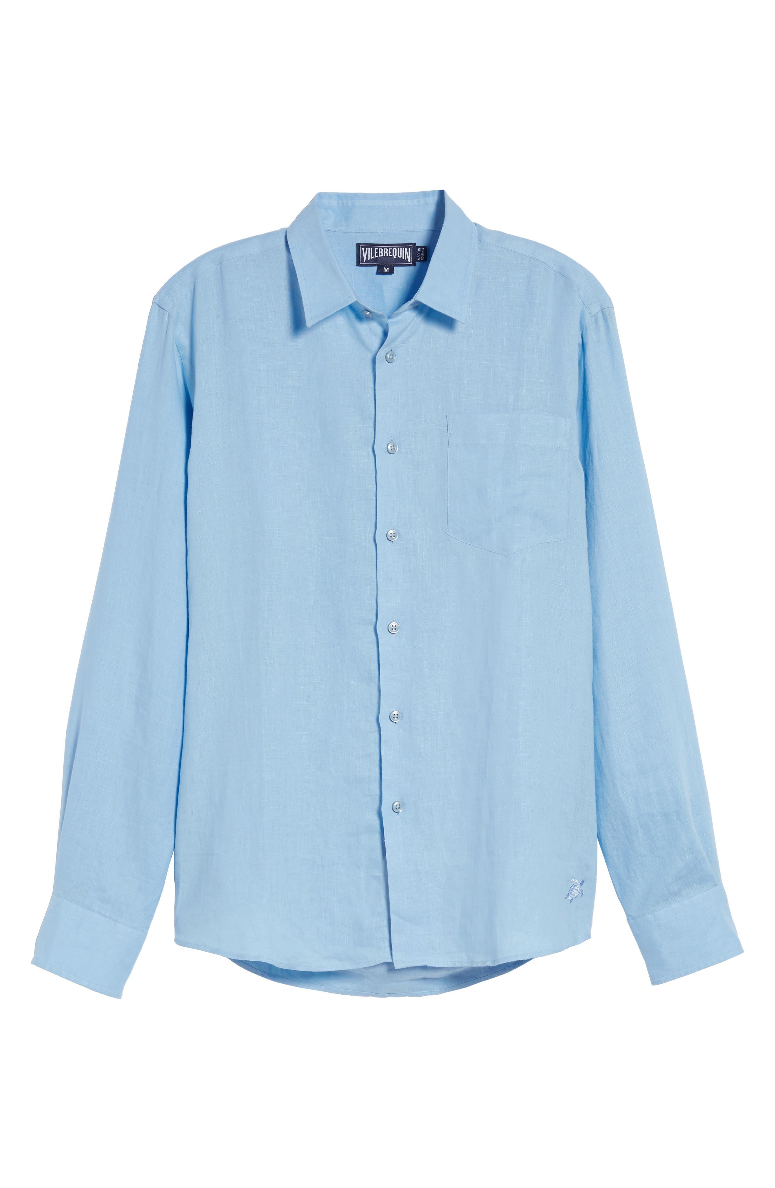 Caroubie Regular Fit Linen Sport Shirt,                             Alternate thumbnail 6, color,                             Sky Blue