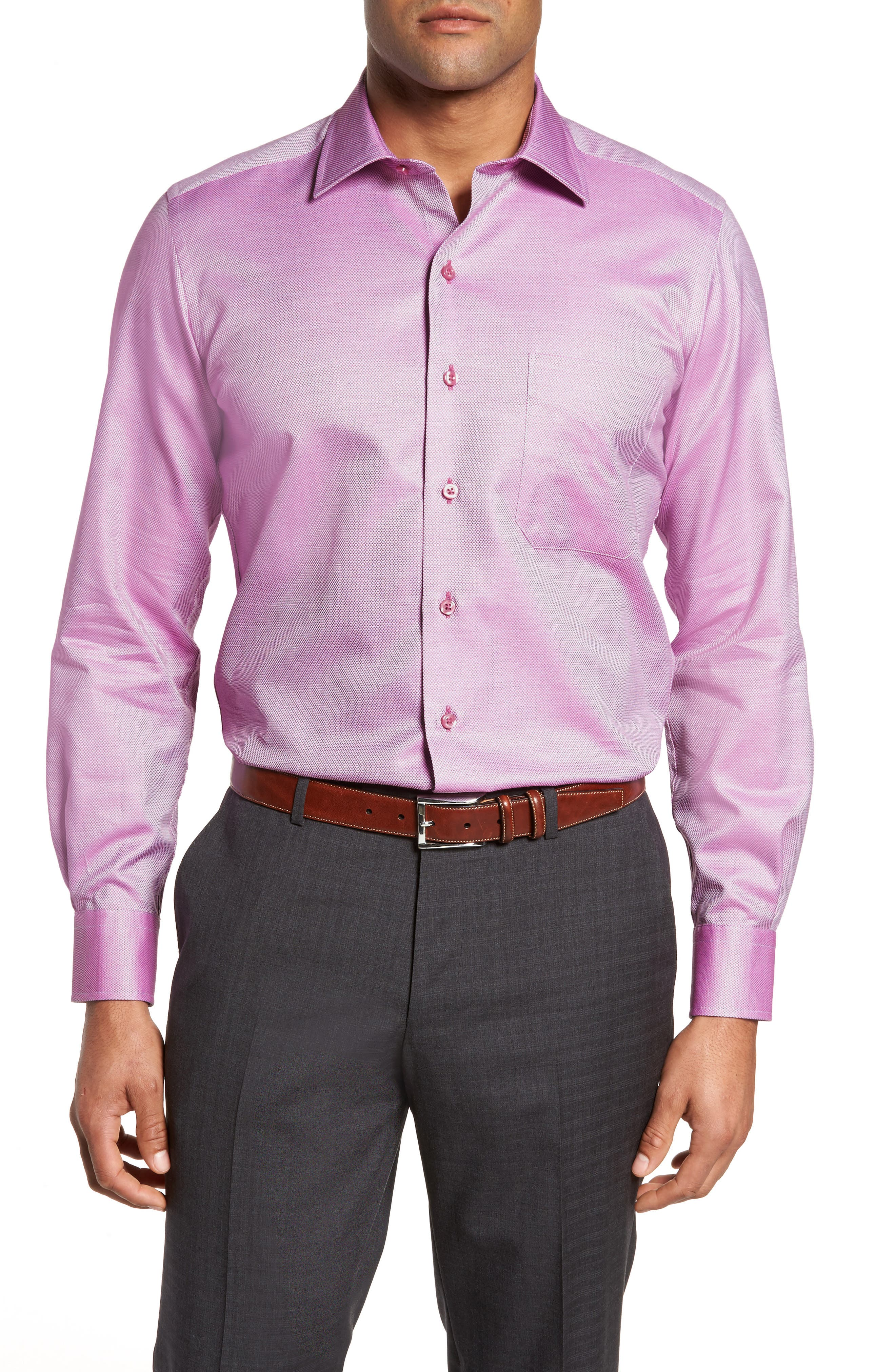 Solid Sport Shirt,                             Main thumbnail 1, color,                             Berry