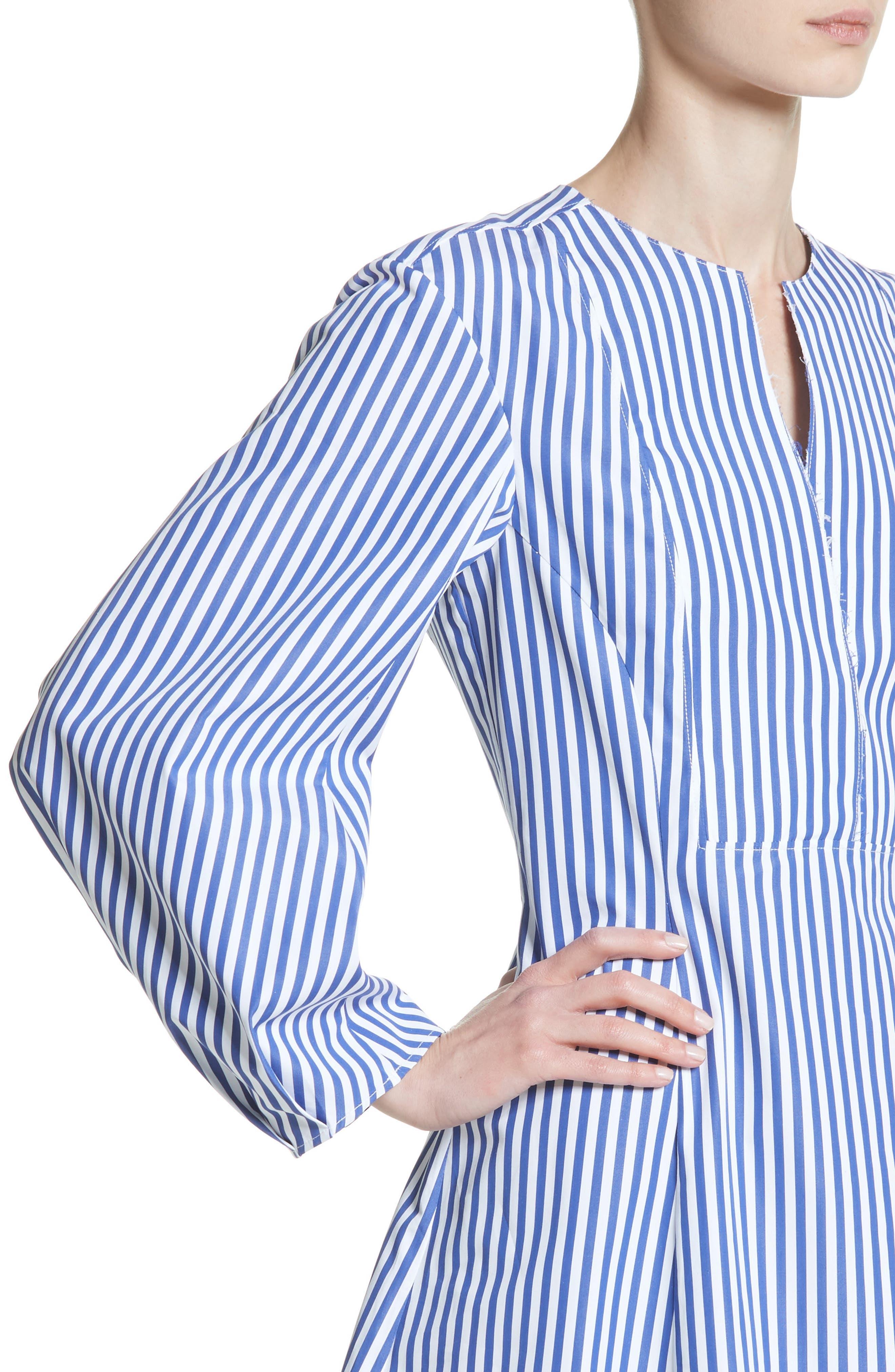 Alternate Image 4  - KHAITE Vanessa Stripe Poplin Minidress