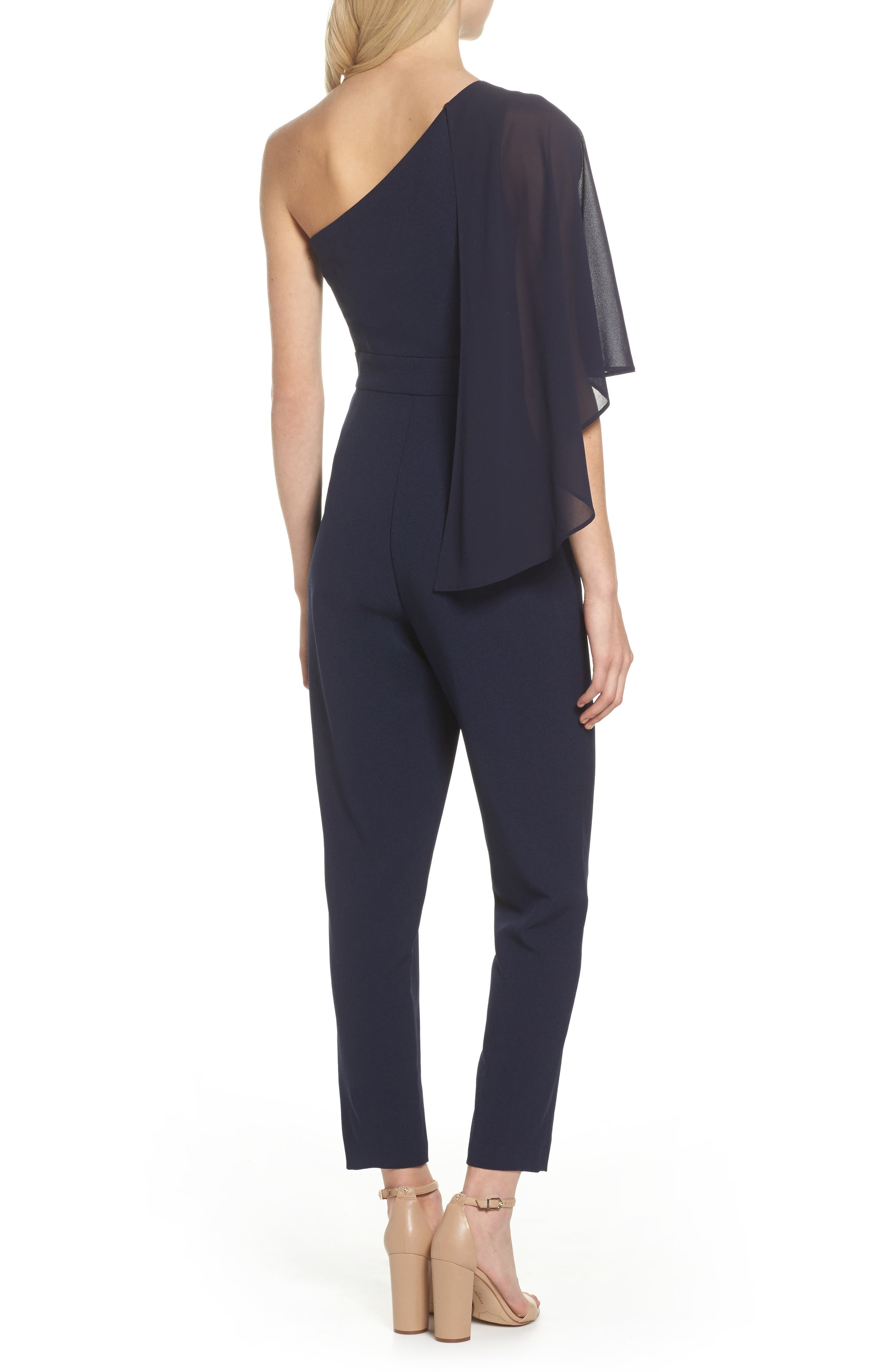 Cape Overlay One-Shoulder Jumpsuit,                             Alternate thumbnail 2, color,                             Navy