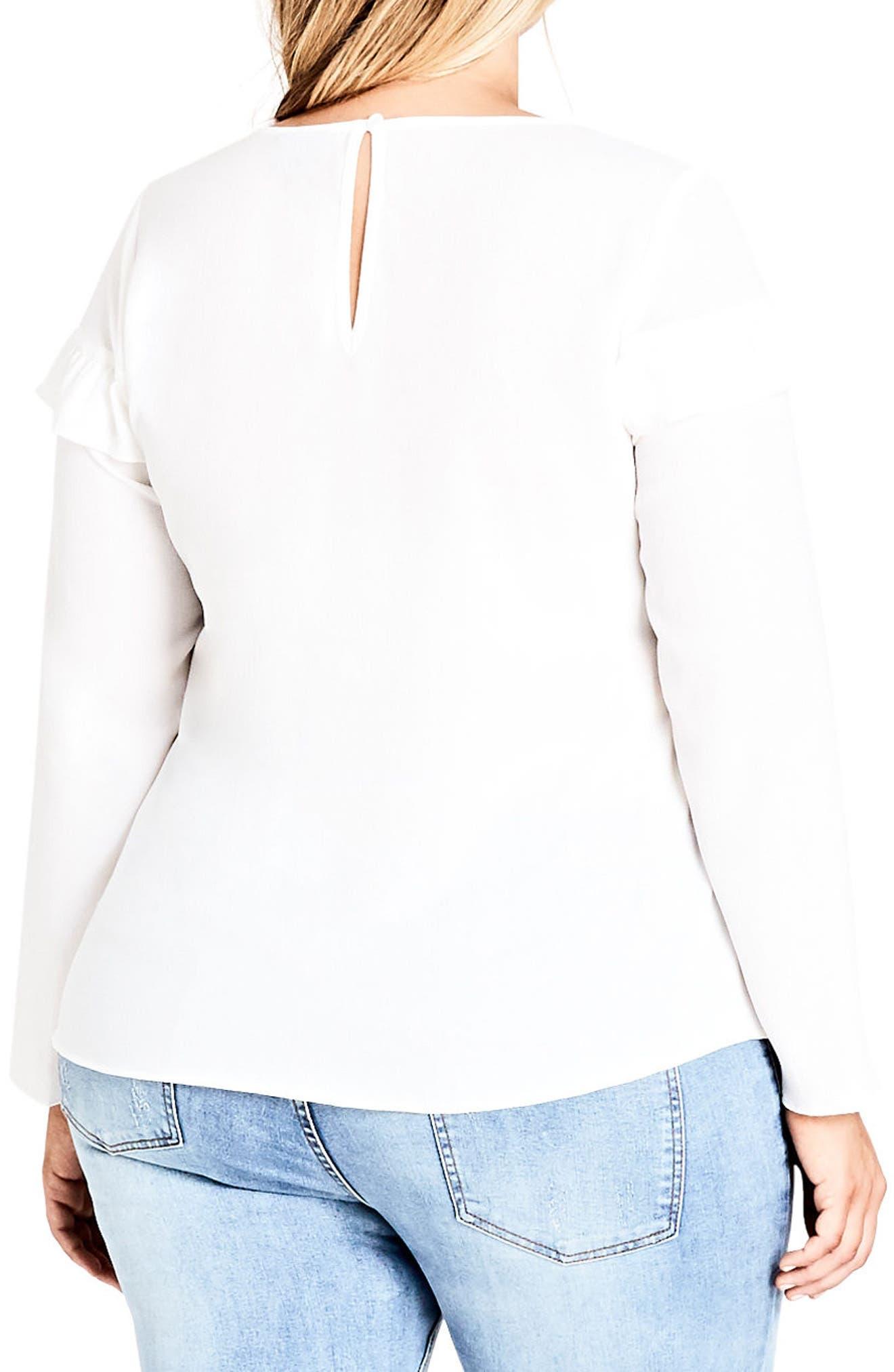 Alternate Image 2  - City Chic Stripe Ruffle Shirt (Plus Size)