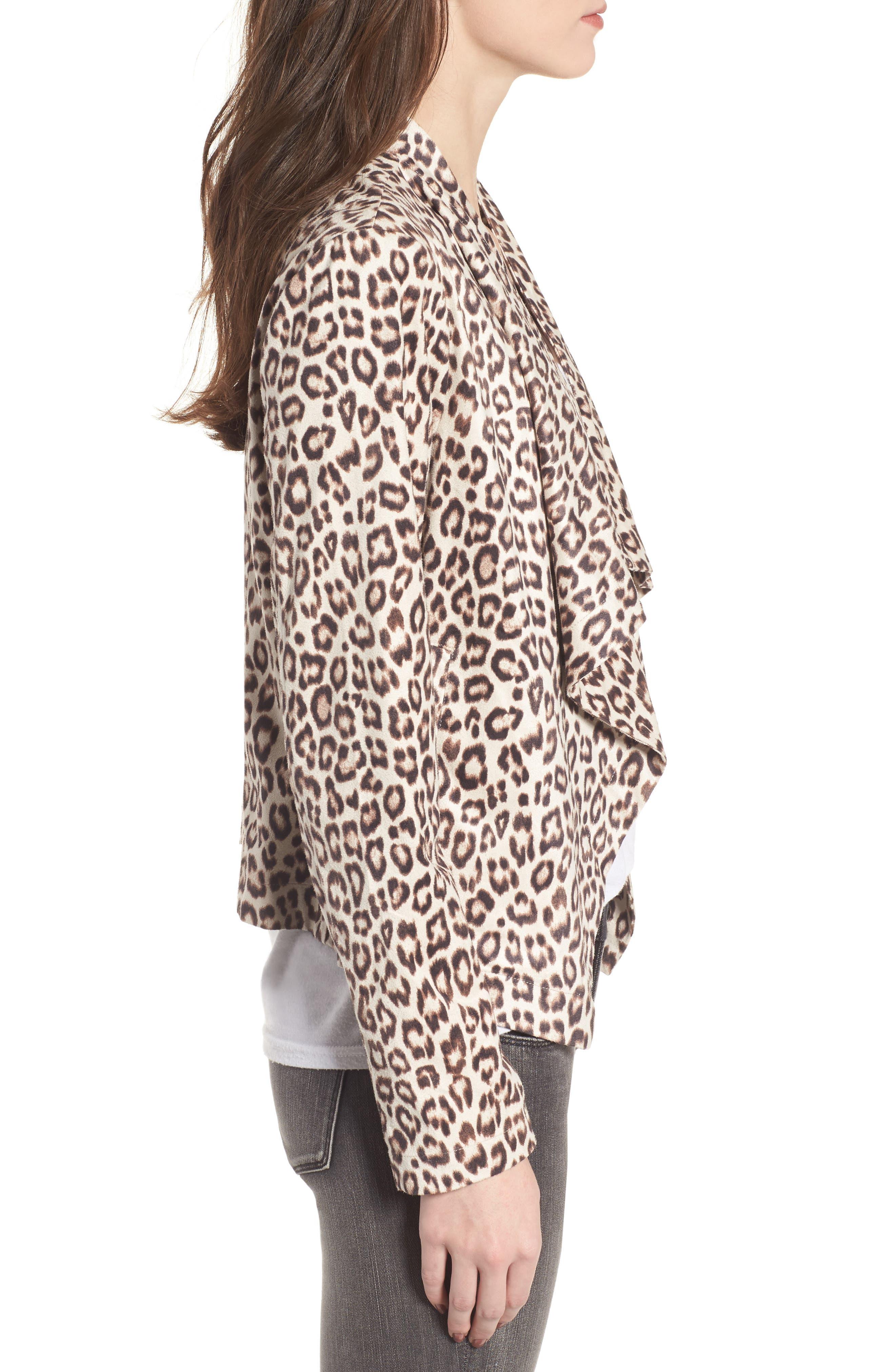 Aleah Leopard Print Faux Suede Drape Front Jacket,                             Alternate thumbnail 3, color,                             Light Tan