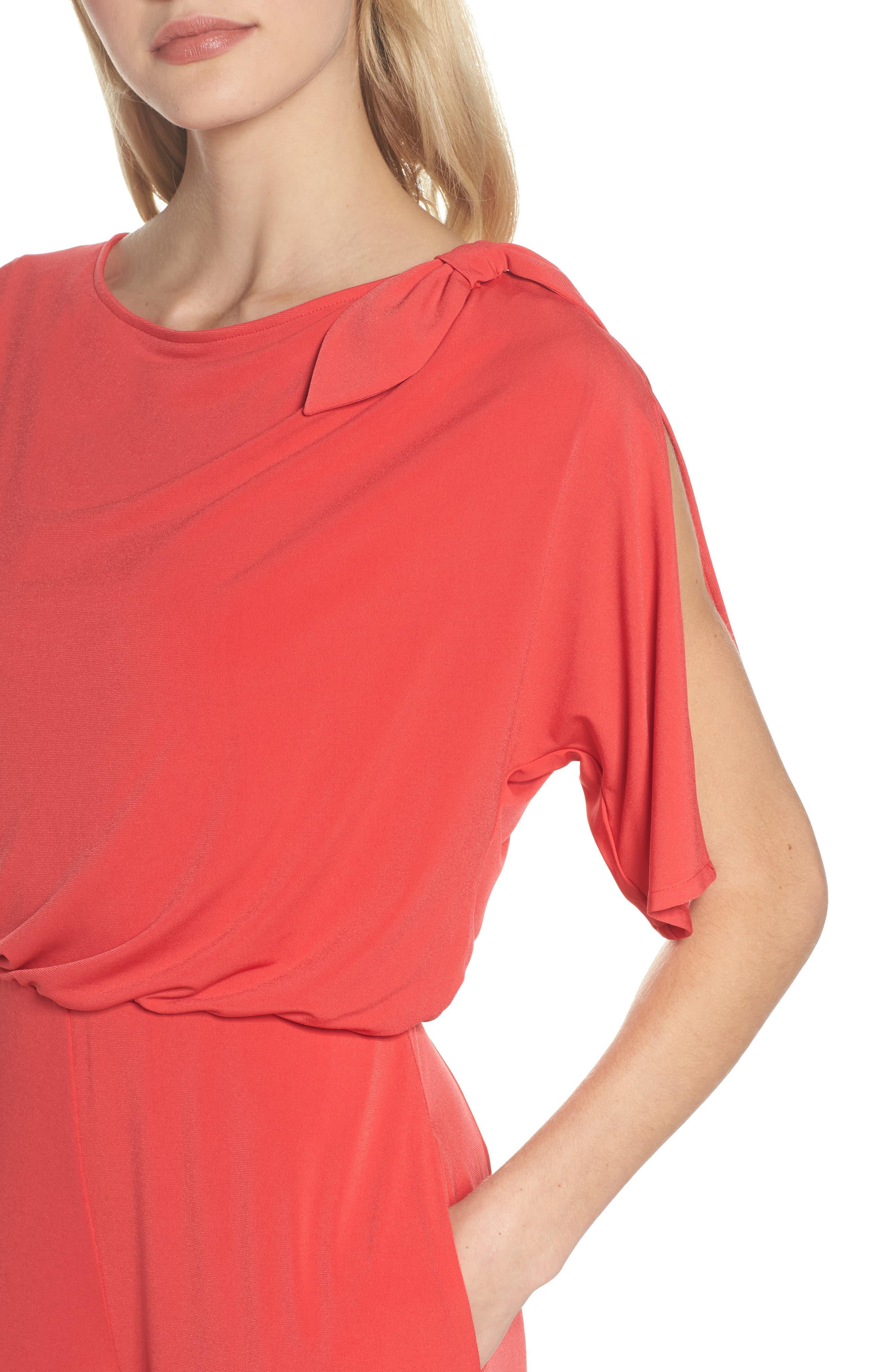 Crepe Split Sleeve Jumpsuit,                             Alternate thumbnail 4, color,                             Red