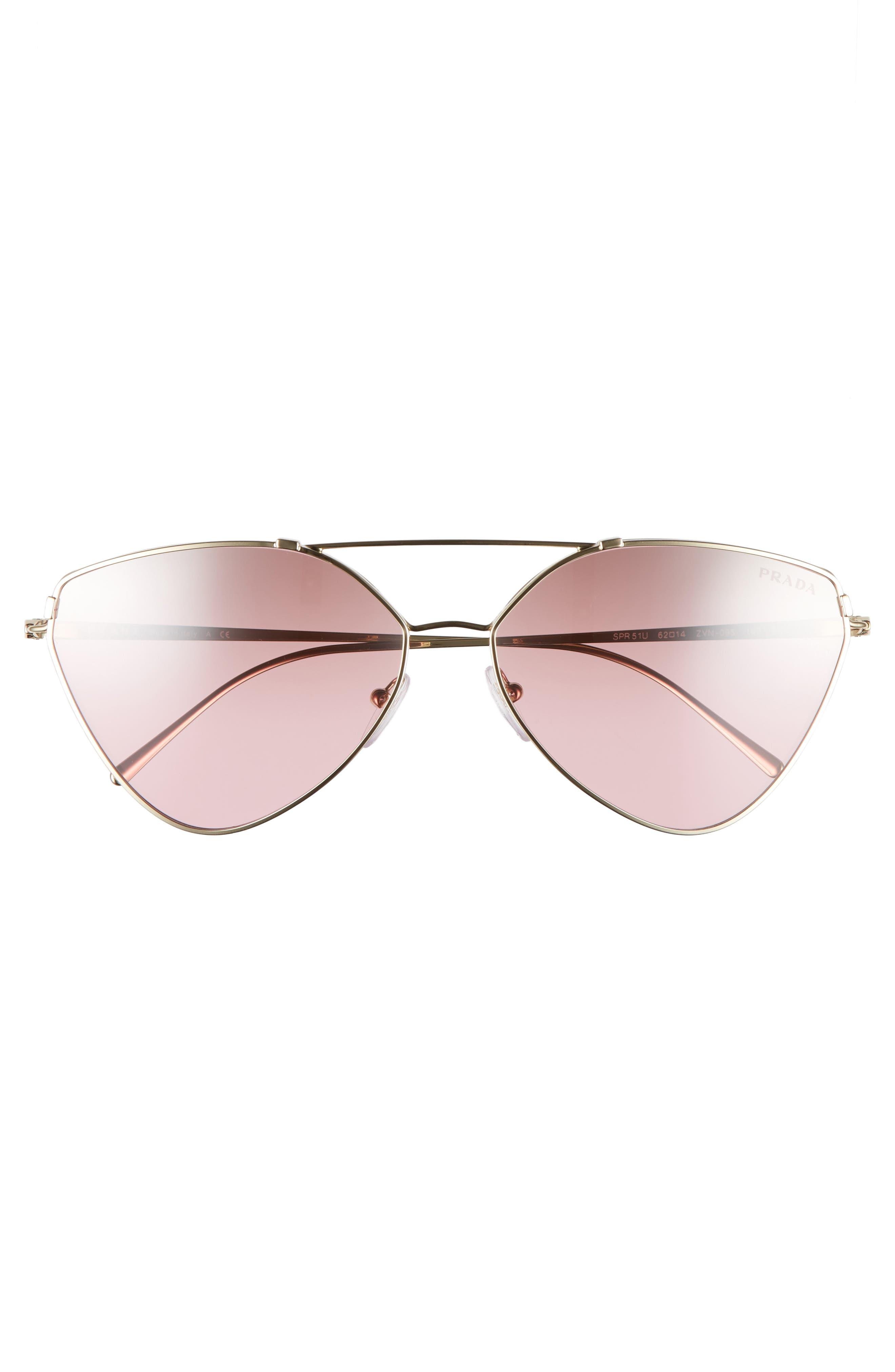 62mm Gradient Aviator Sunglasses,                             Alternate thumbnail 3, color,                             Pale Gold