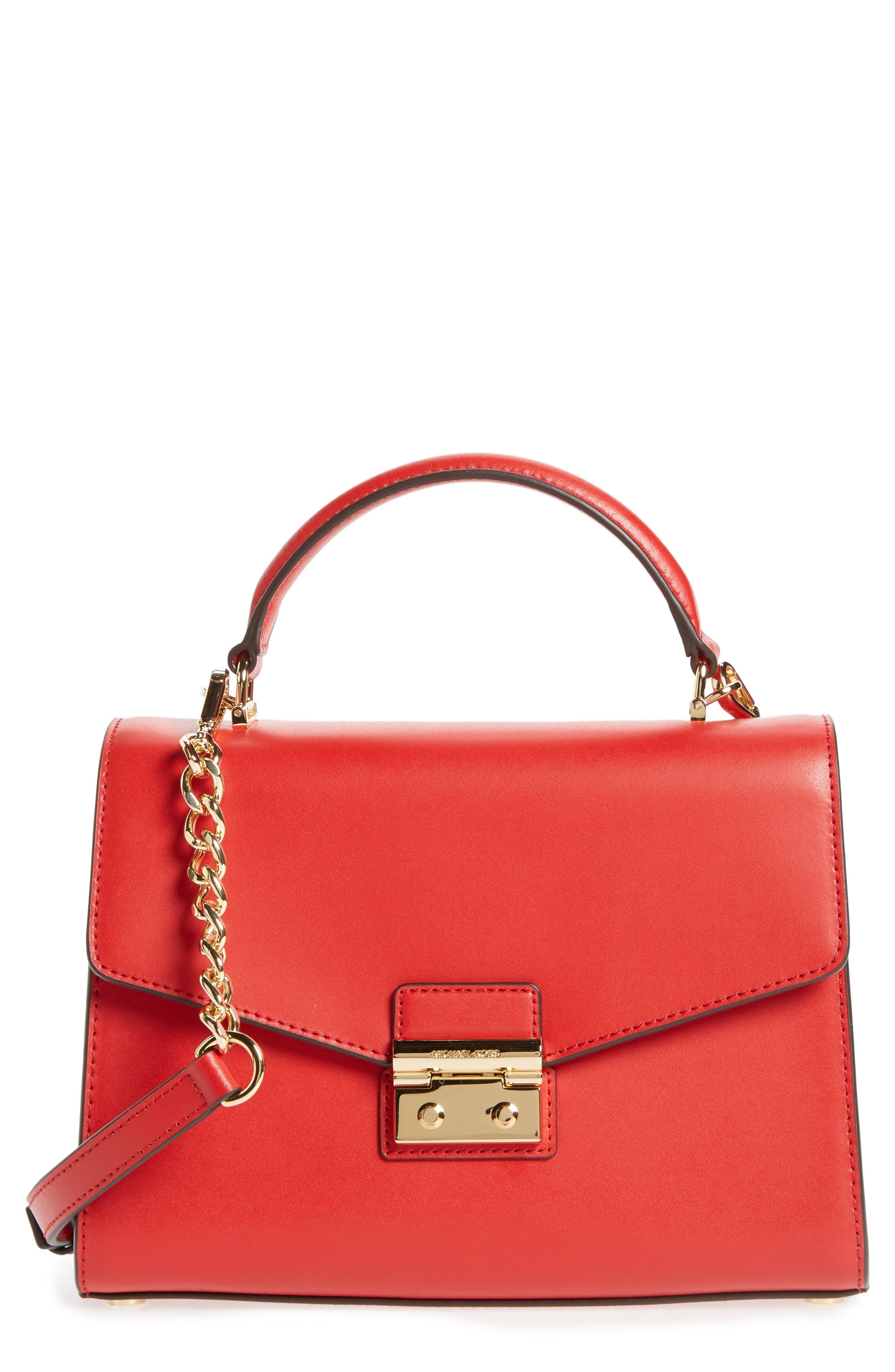 MICHAEL Michael Kors Medium Sloan Leather Satchel,                             Main thumbnail 1, color,                             Bright Red