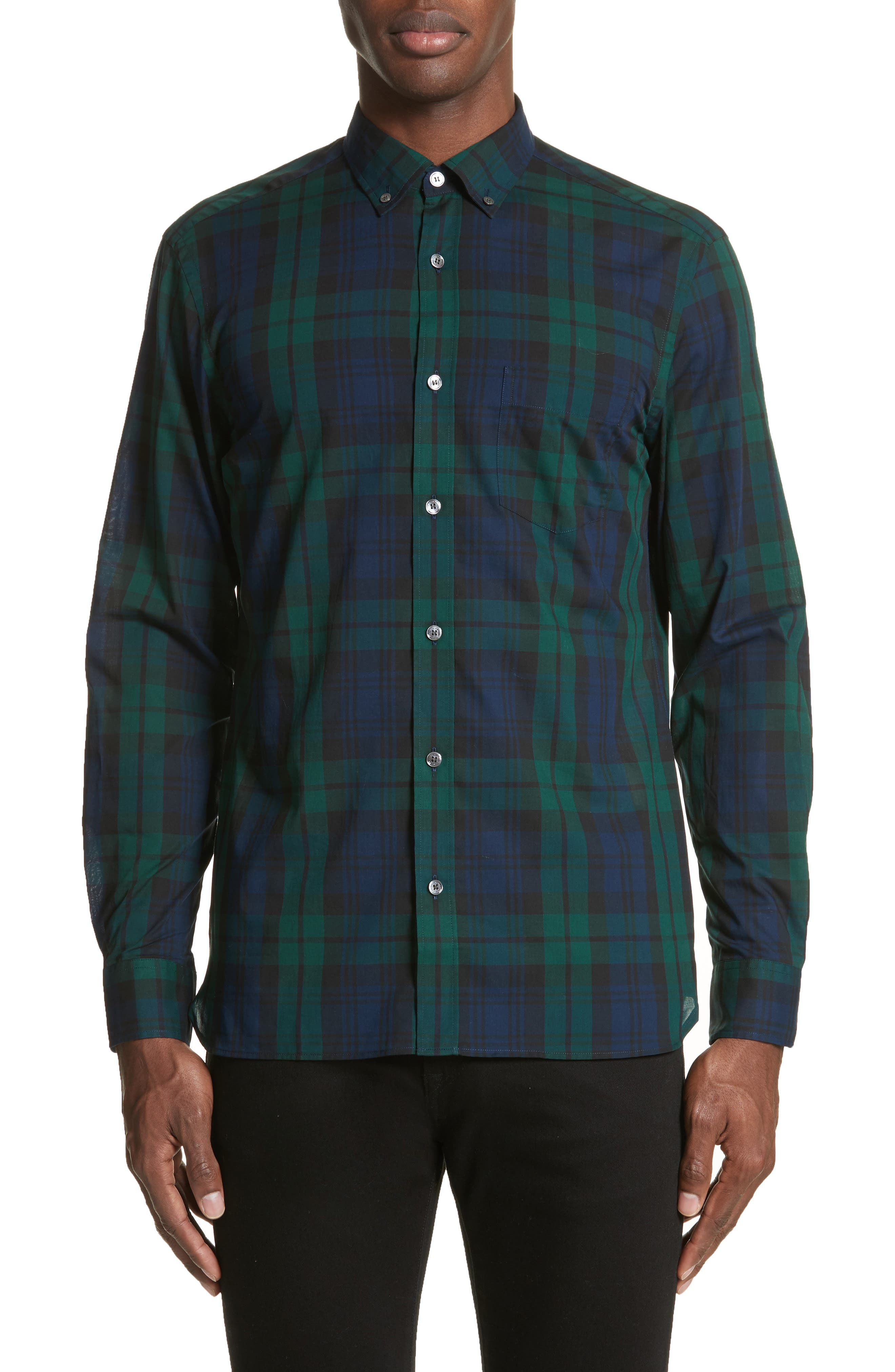 Salwick Tartan Plaid Sport Shirt,                             Main thumbnail 1, color,                             Navy