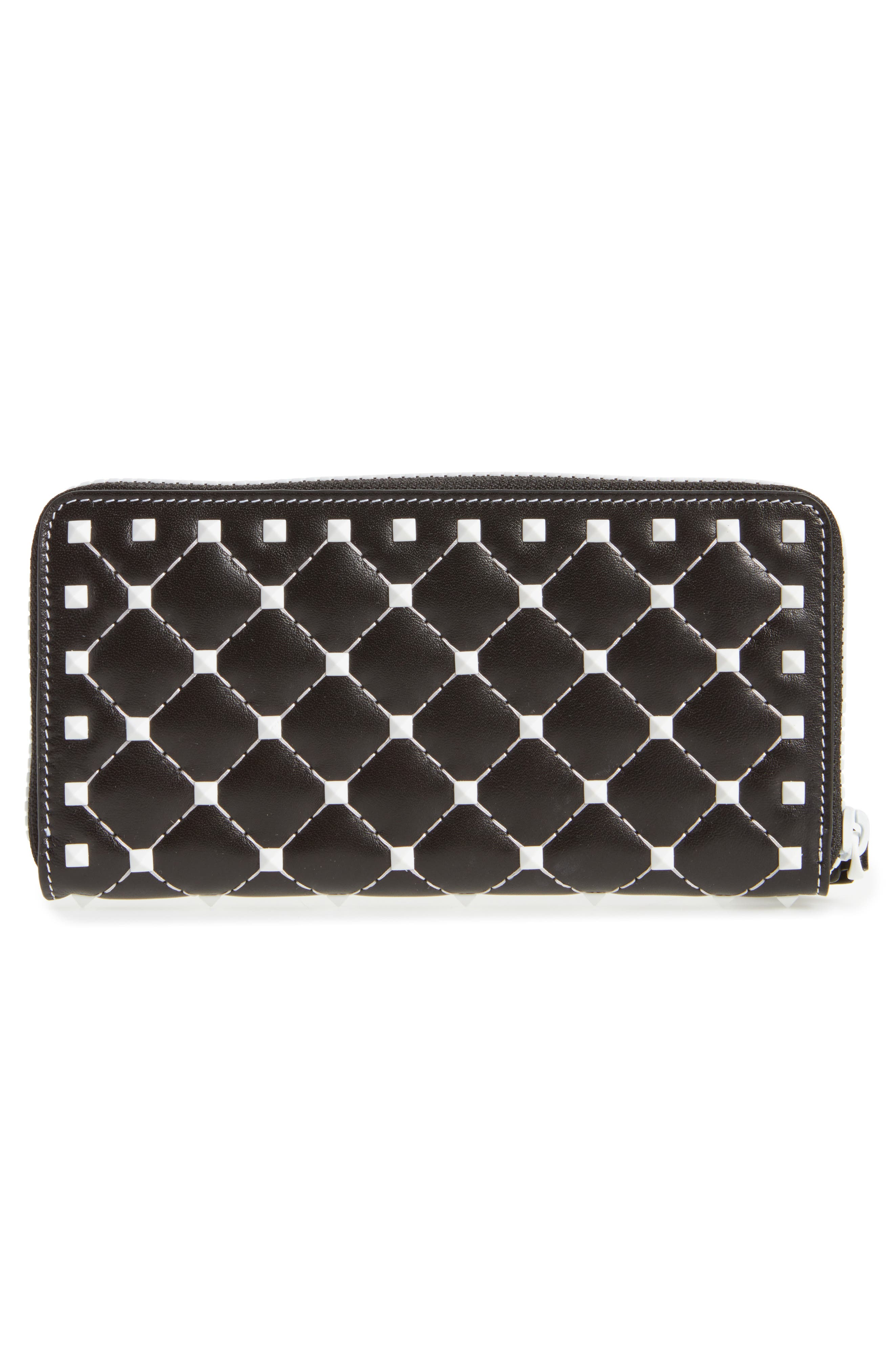 Rockstud Spike Zip Around Leather Wallet,                             Alternate thumbnail 2, color,                             Black