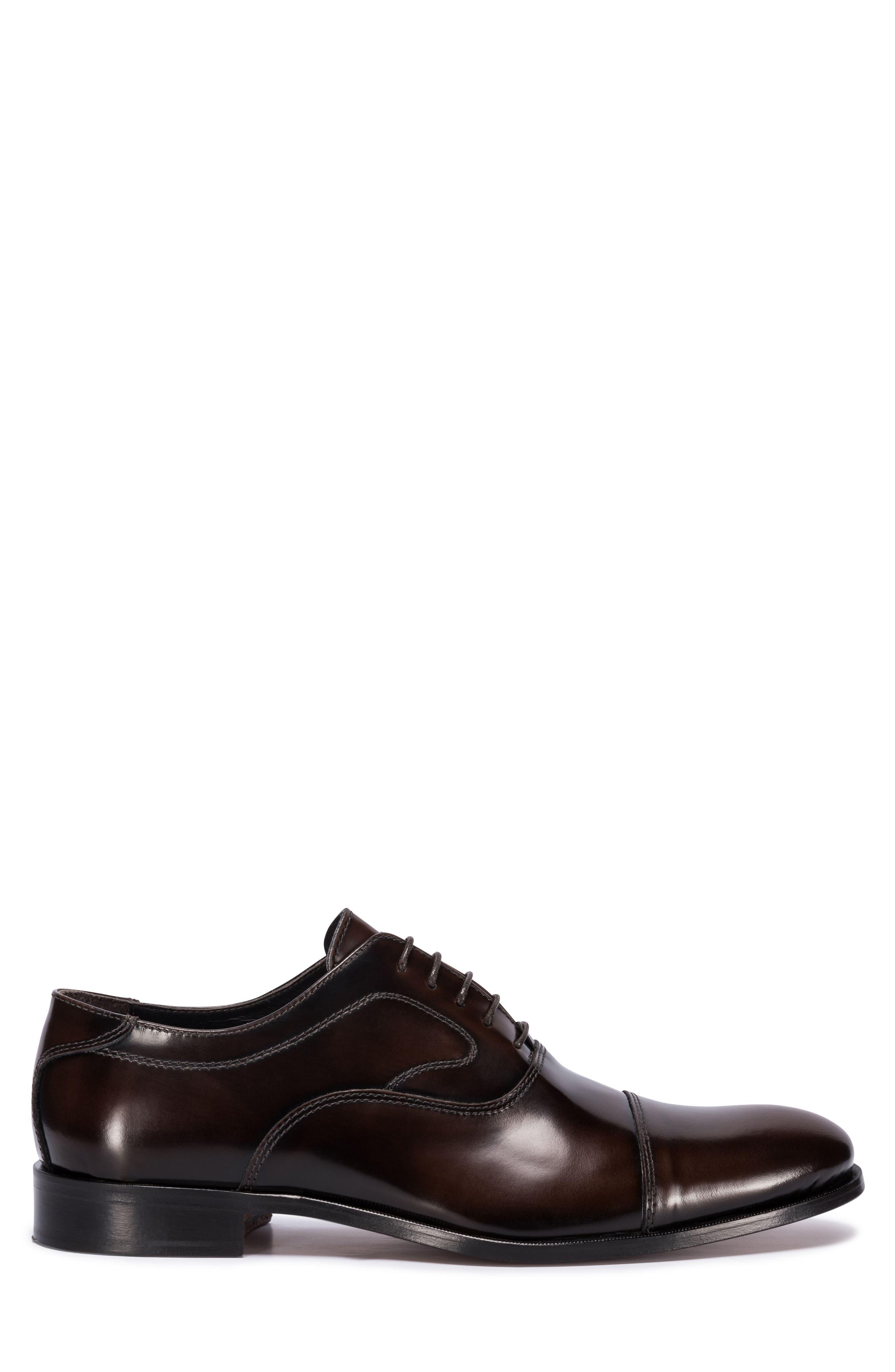 Garda Cap Toe Oxford,                             Alternate thumbnail 3, color,                             Brown Leather
