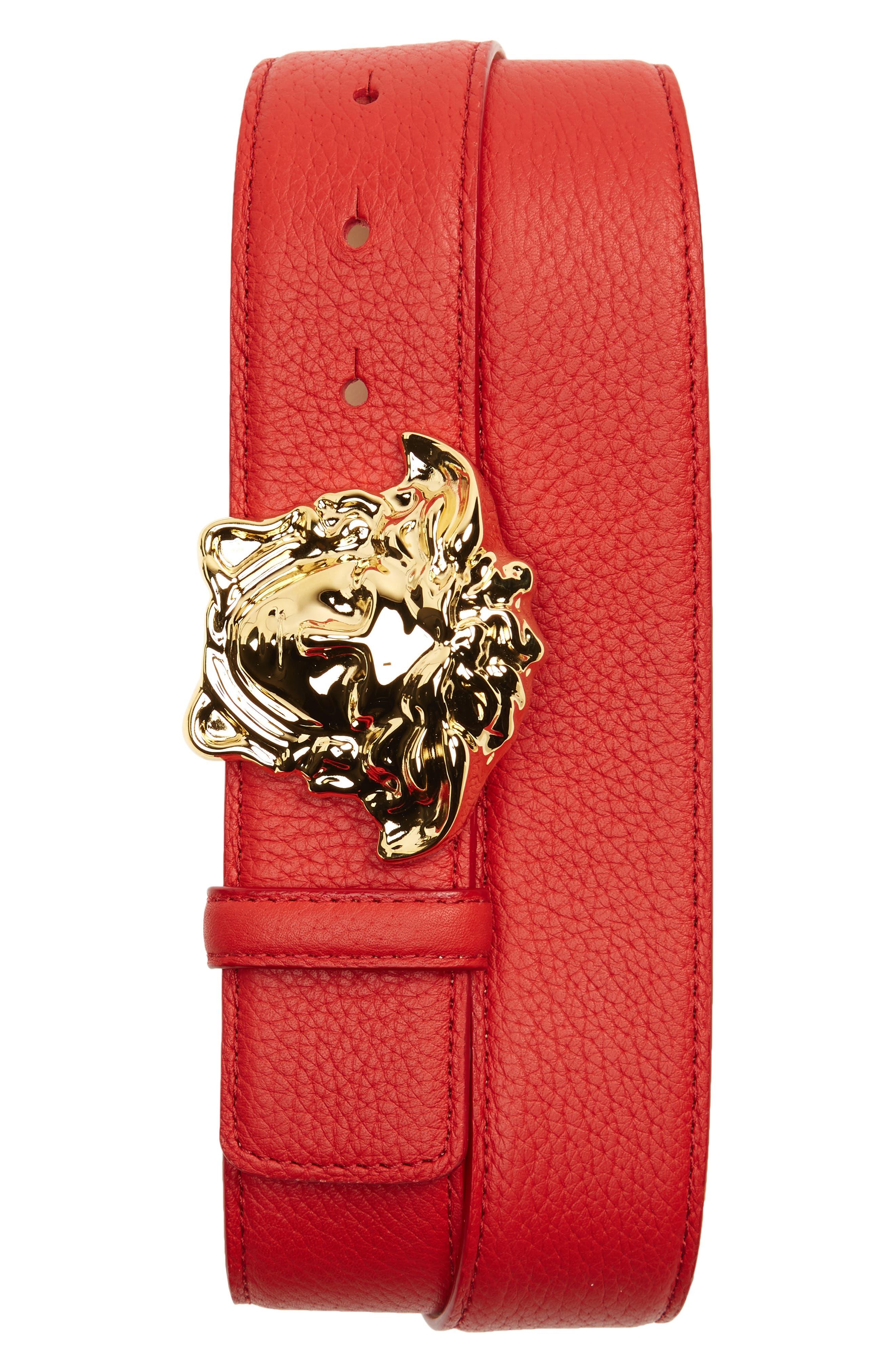Medusa Head Leather Belt,                             Main thumbnail 1, color,                             Geranium Warm Gold