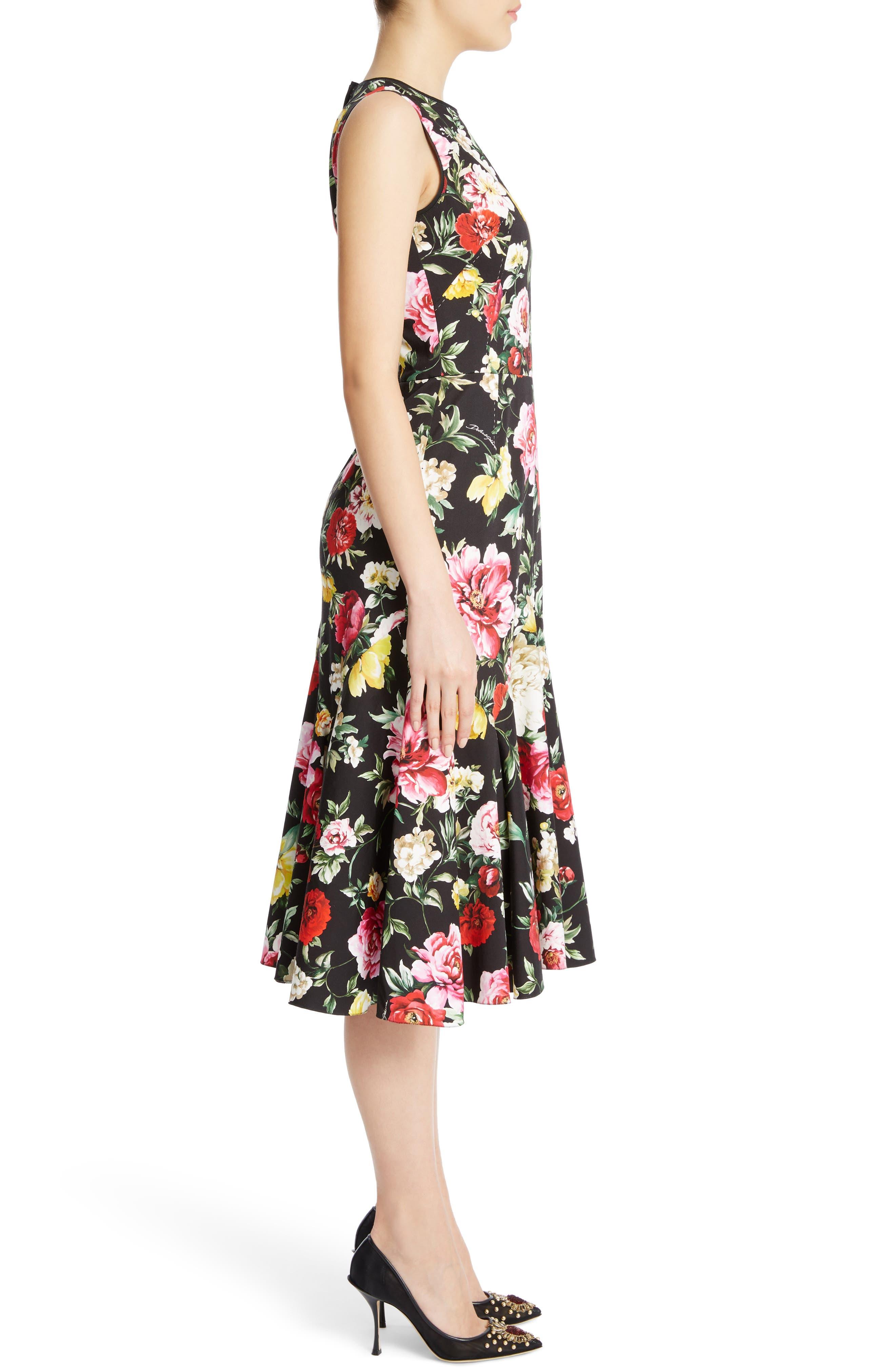 Floral Print Flare Hem Dress,                             Alternate thumbnail 3, color,                             Black