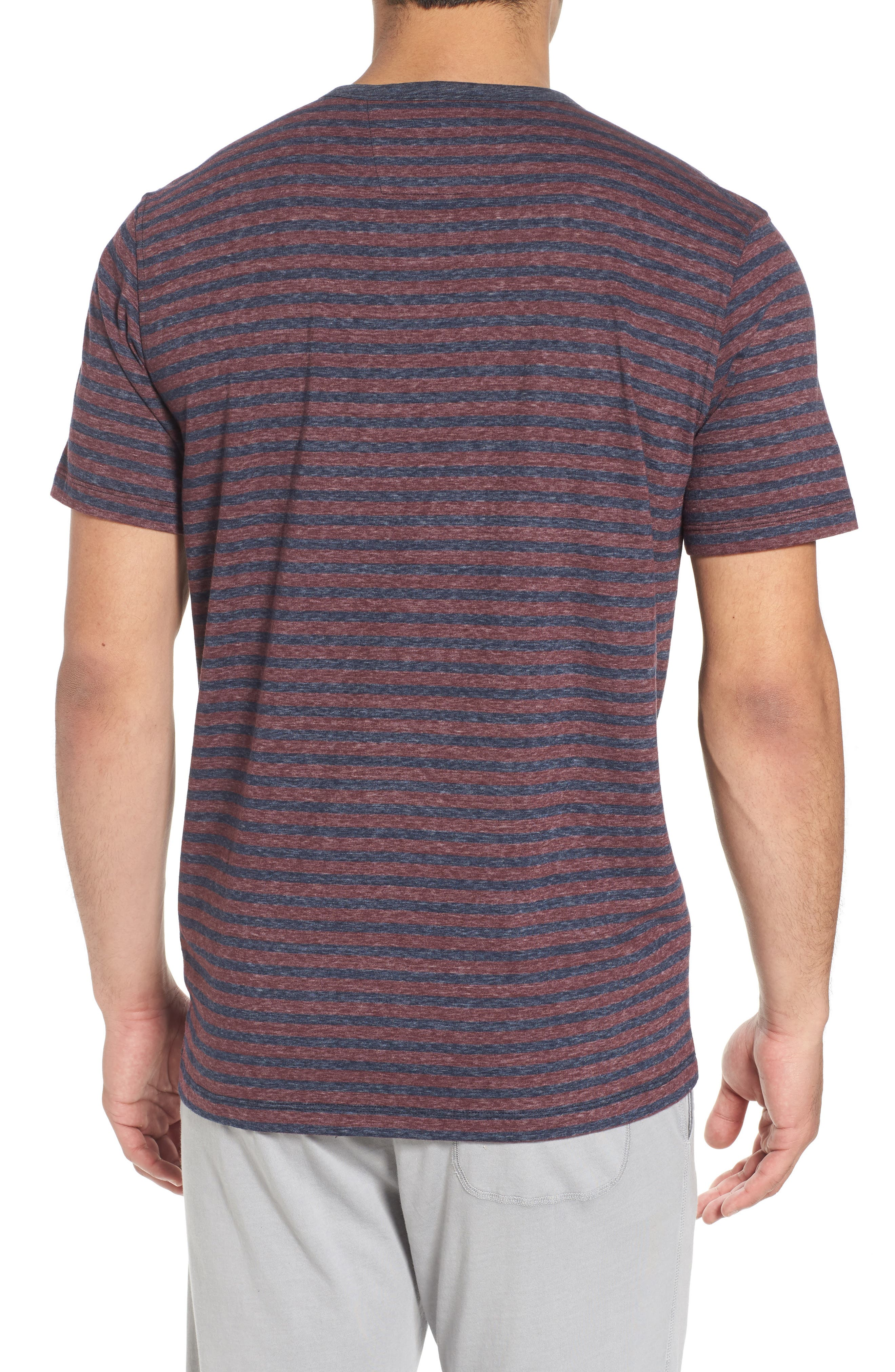Short Sleeve Recycled Cotton Blend Henley,                             Alternate thumbnail 2, color,                             Blue/ Red