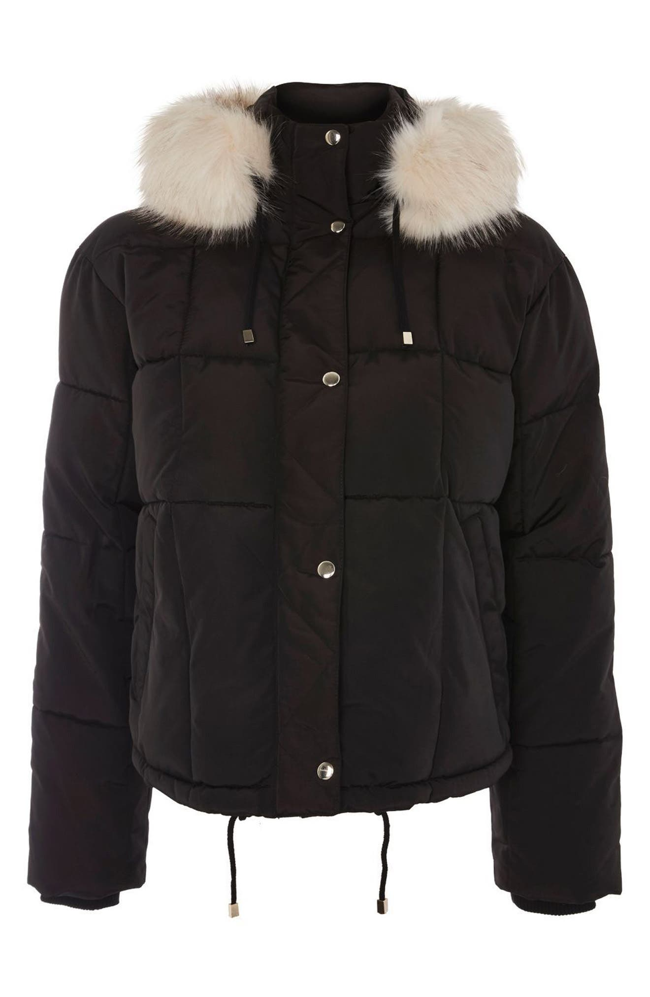 Faux Fur Lined Puffer Jacket,                         Main,                         color, Black Multi