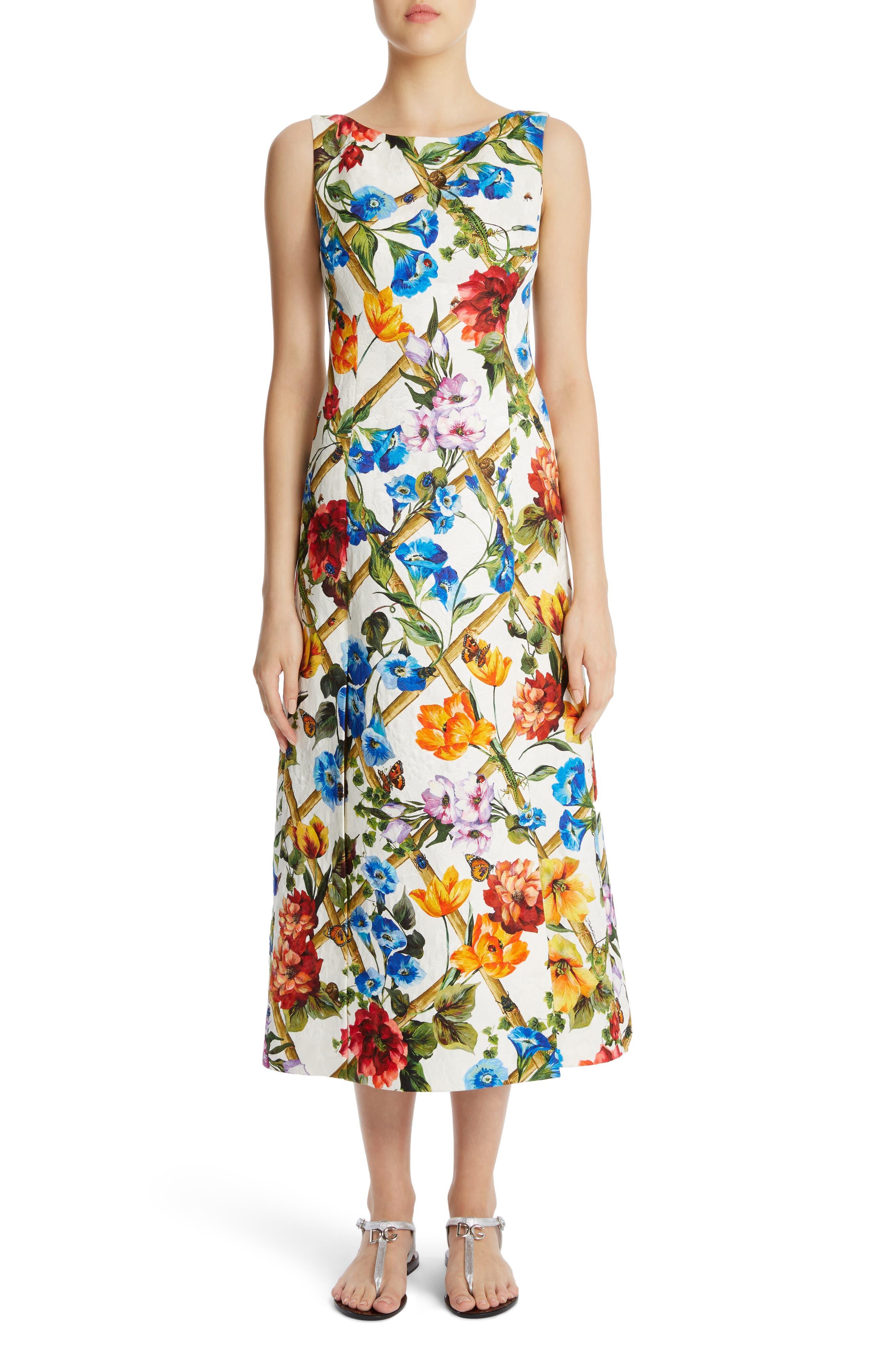 Slit Floral Brocade Dress,                         Main,                         color, White