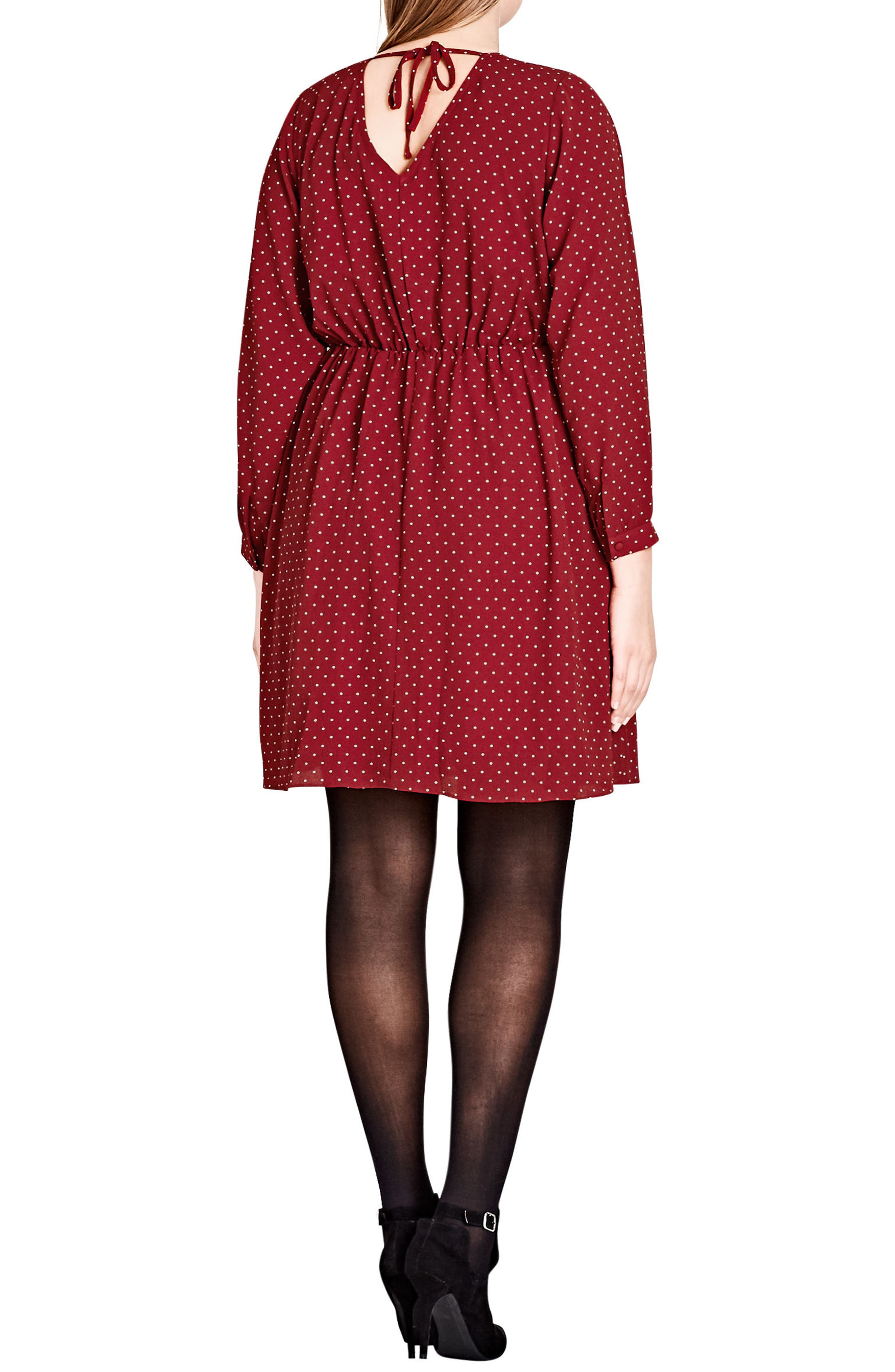 Sweet Nothing Polka Dot Dress,                             Alternate thumbnail 2, color,                             Red Rose