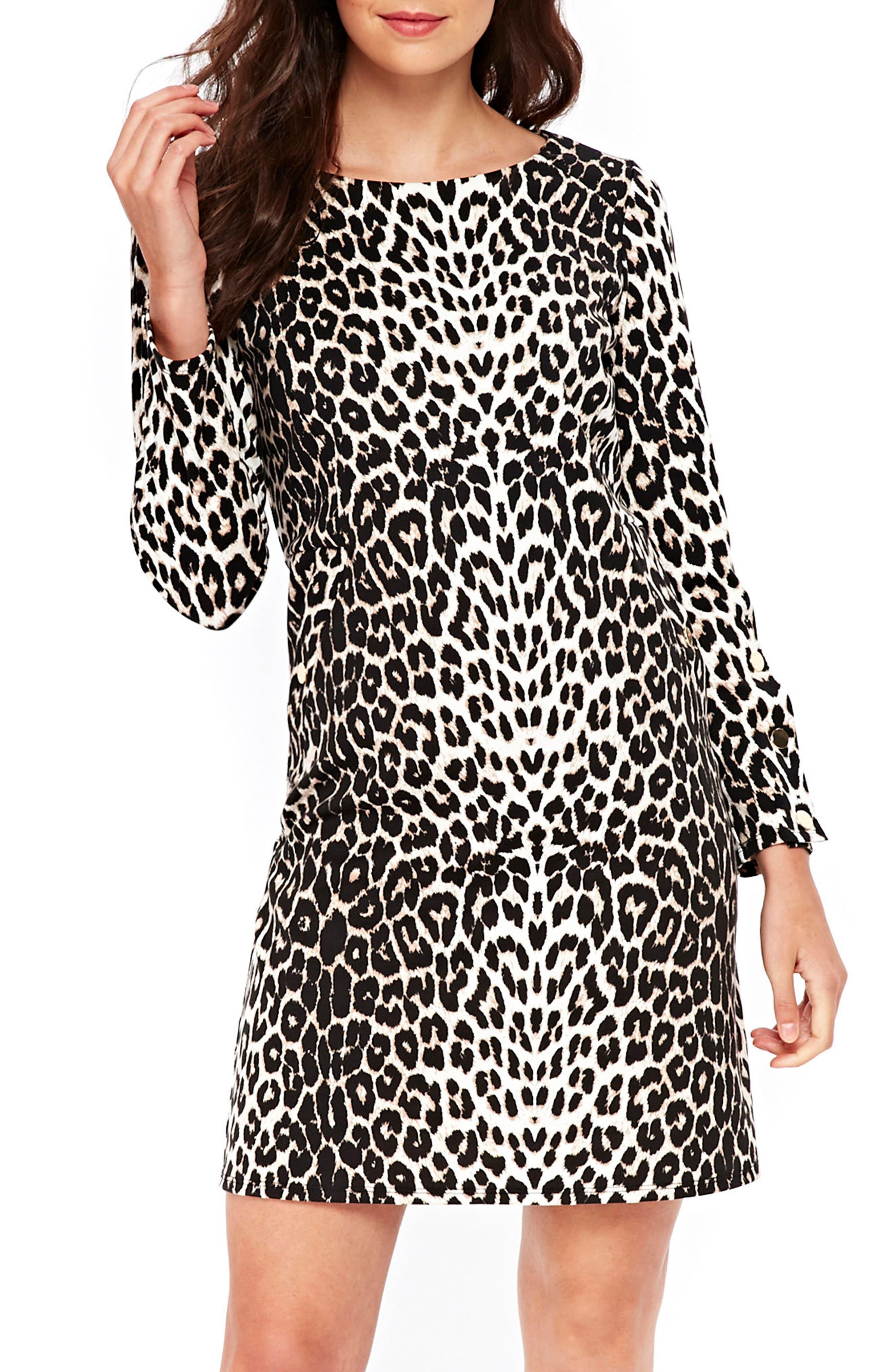 Leopard Ponte Dress,                         Main,                         color, Multi