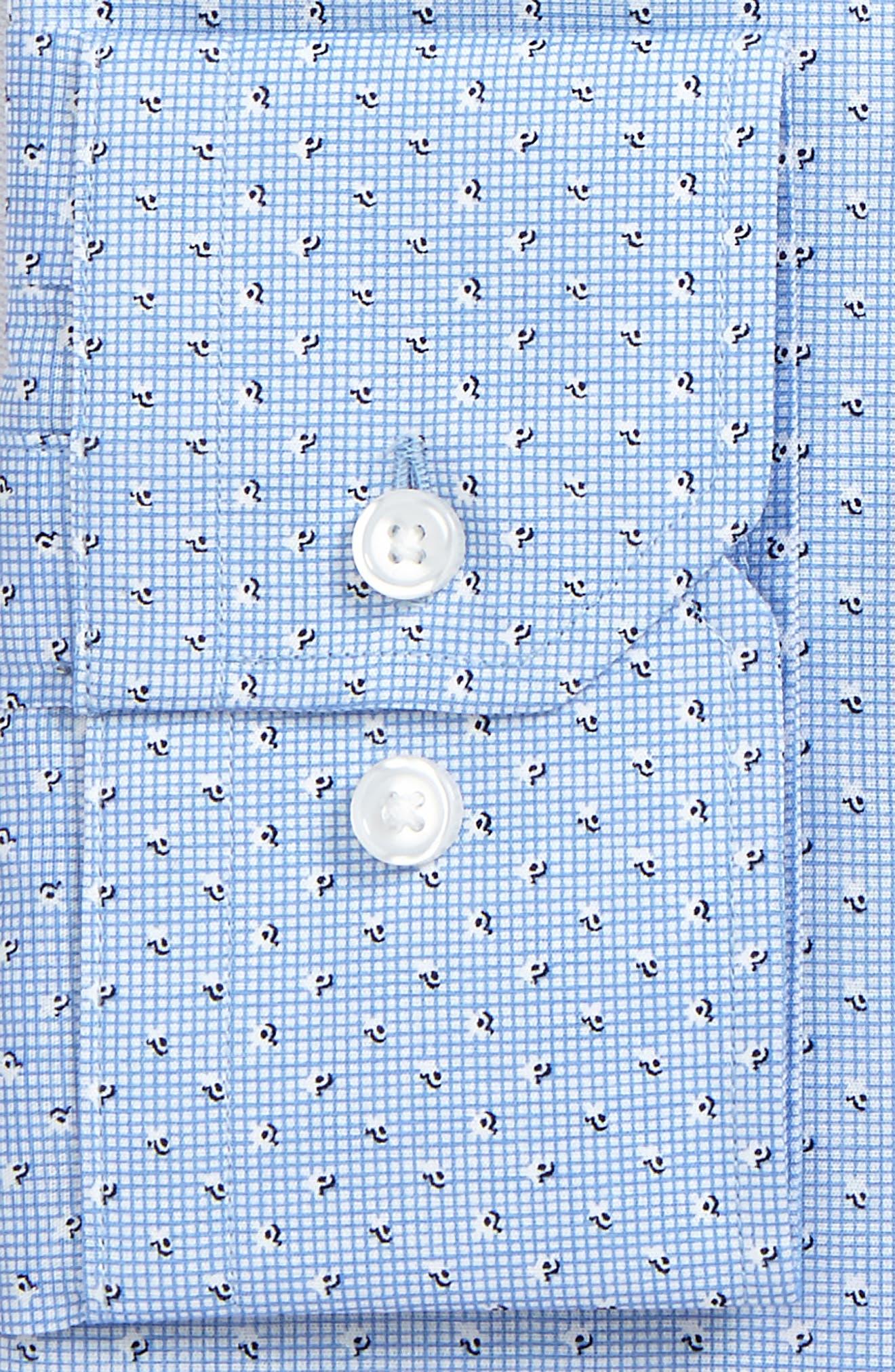 Trim Fit Print Dress Shirt,                             Alternate thumbnail 5, color,                             Blue Robbia