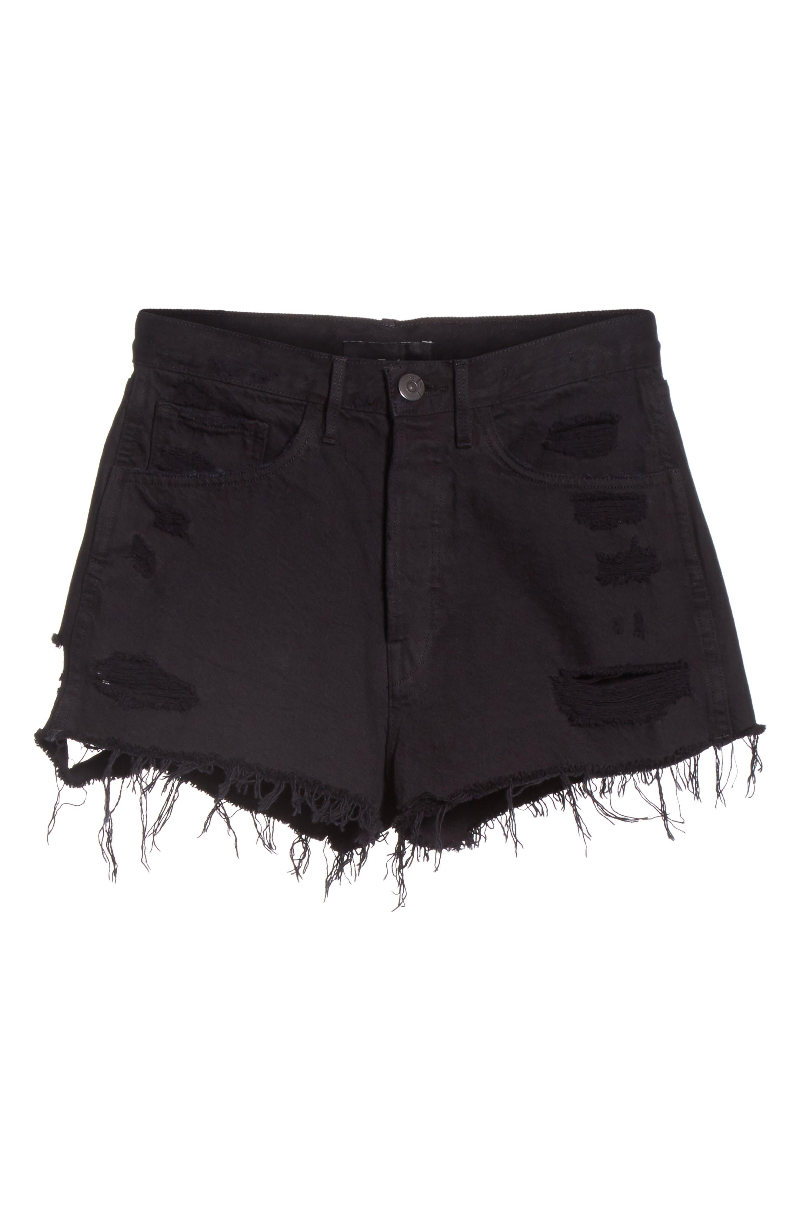 W4 Carter Ripped High Waist Denim Shorts,                             Alternate thumbnail 6, color,                             Carbon