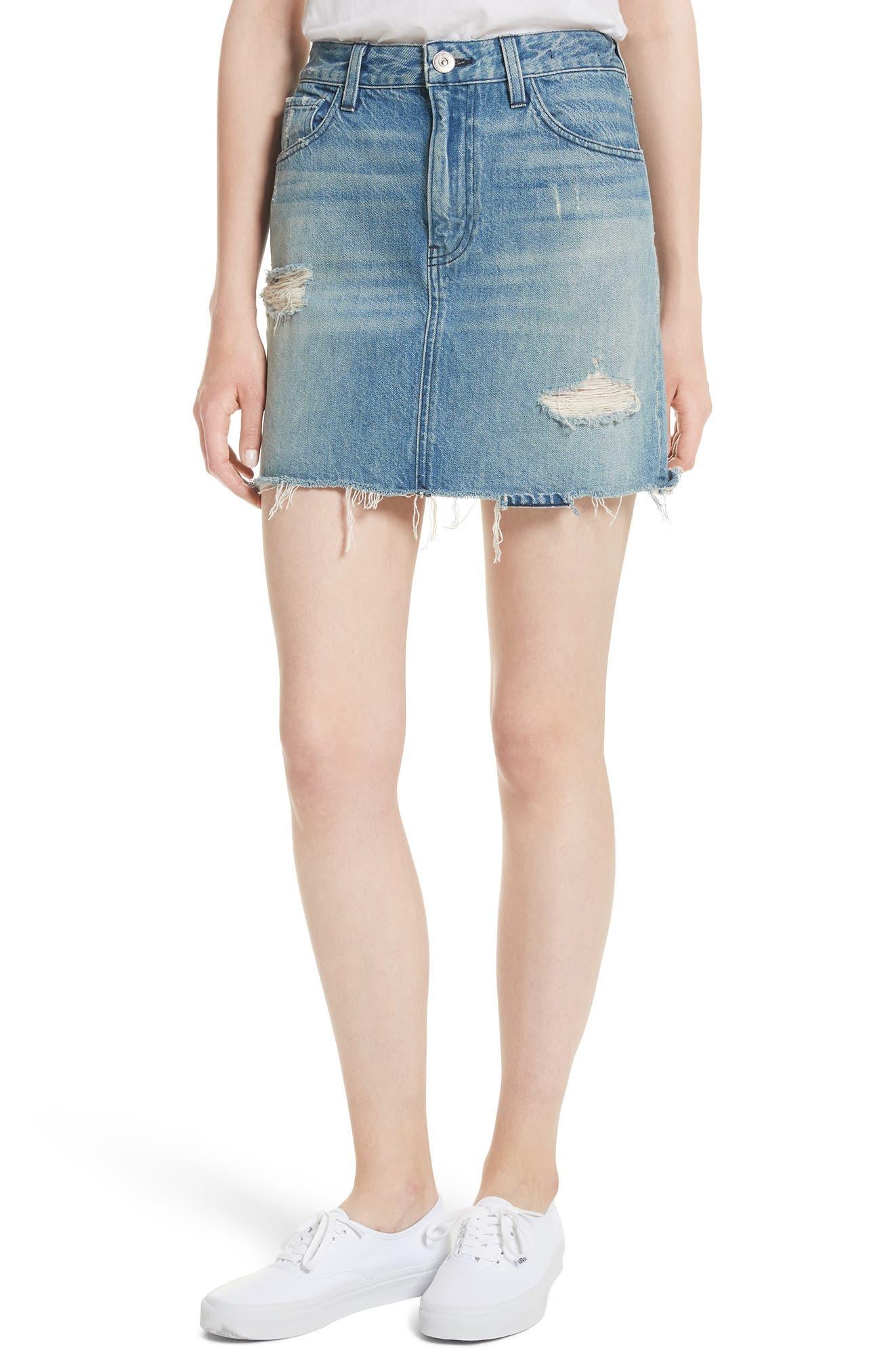 Celine Distressed Denim Skirt,                             Main thumbnail 1, color,                             Laz