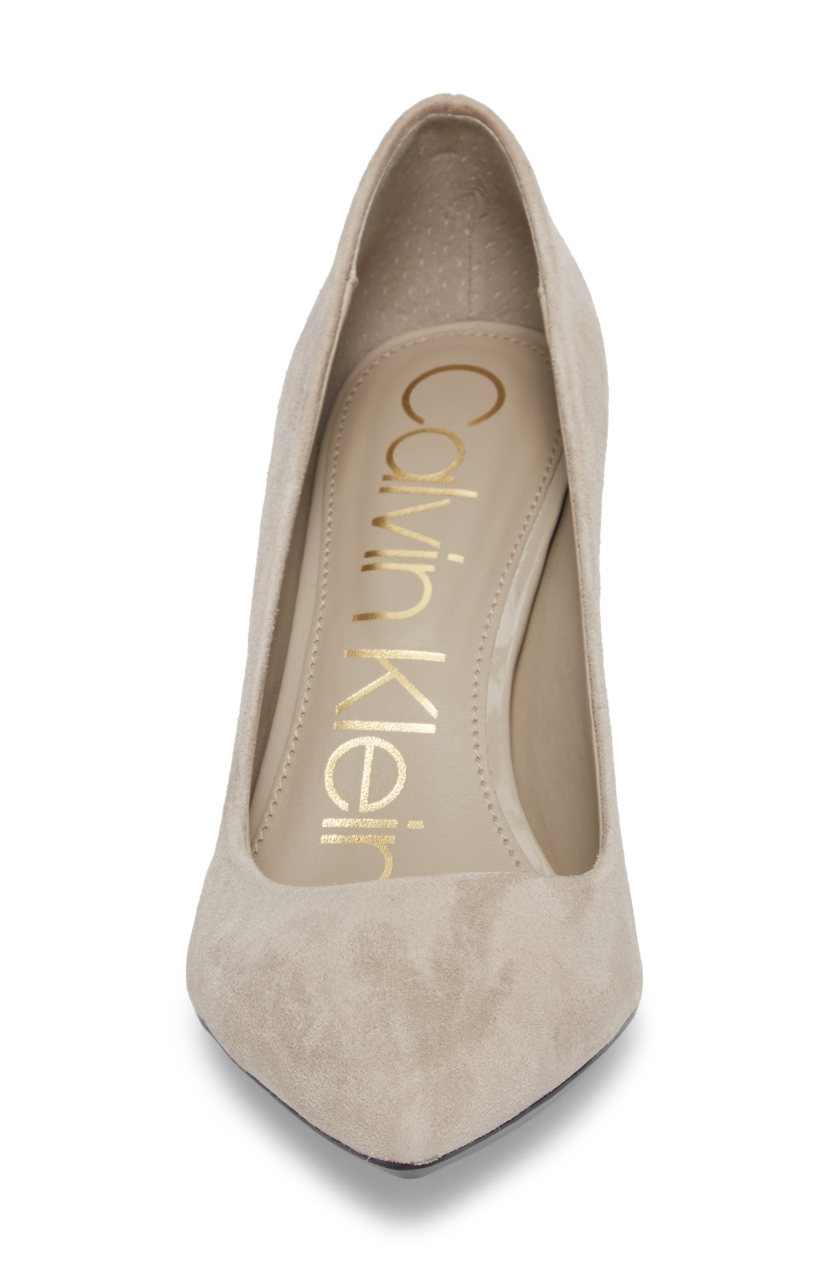Eviti Pointy Toe Pump,                             Alternate thumbnail 4, color,                             Clay Suede