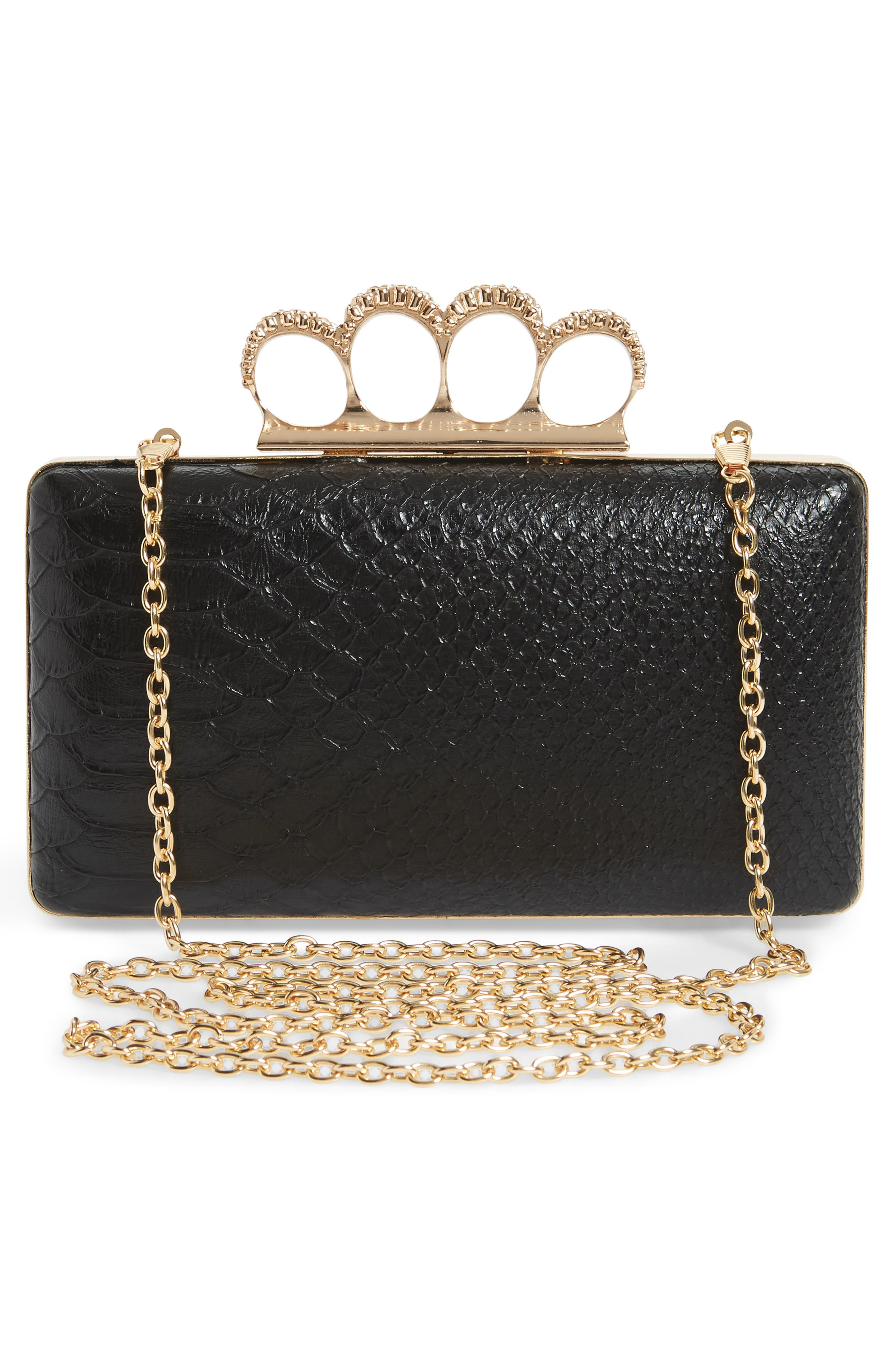 Knuckle Box Clutch,                             Alternate thumbnail 3, color,                             Gold/ Black