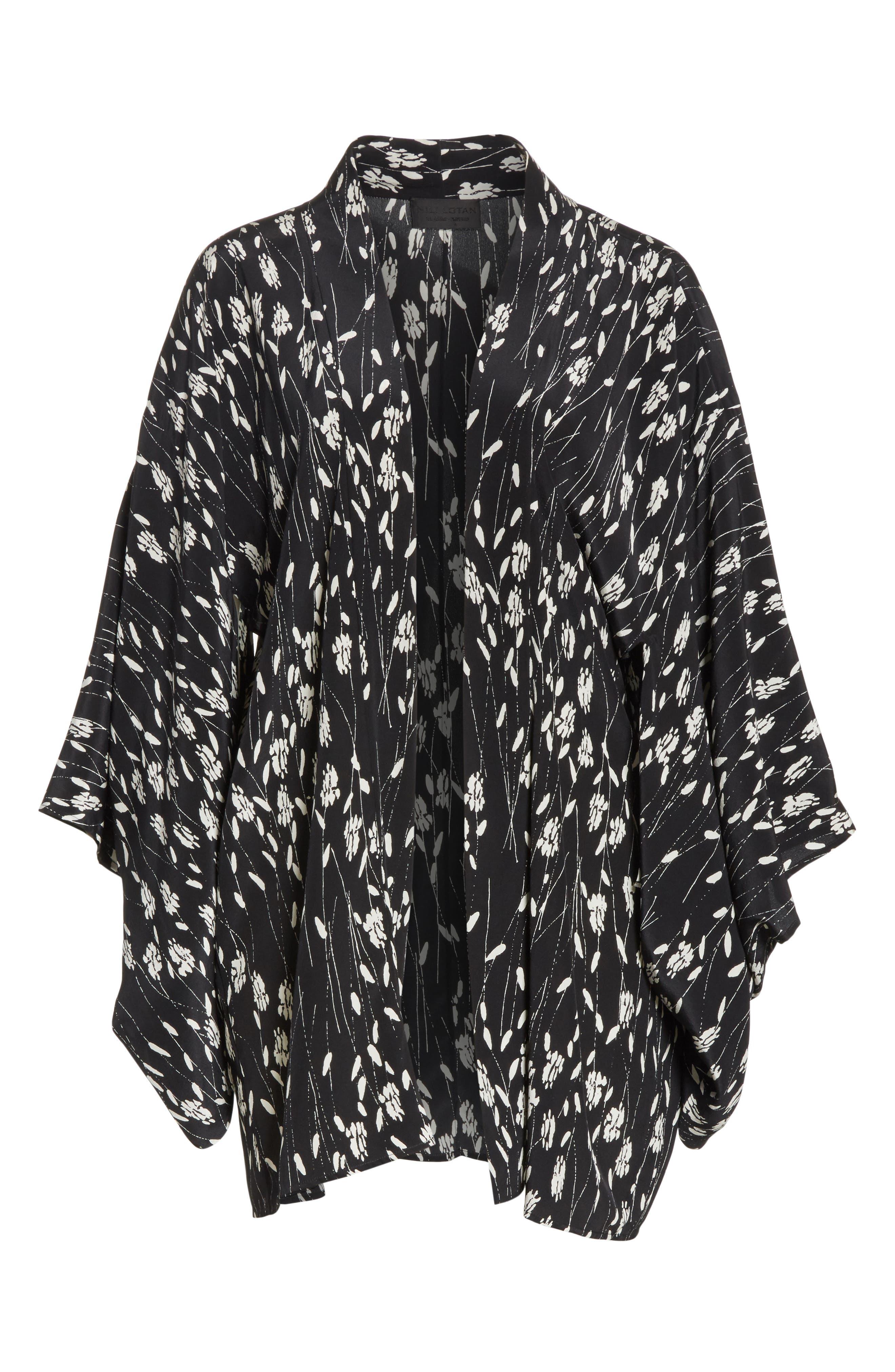 Kima Silk Cover-Up Kimono,                             Alternate thumbnail 6, color,                             Black