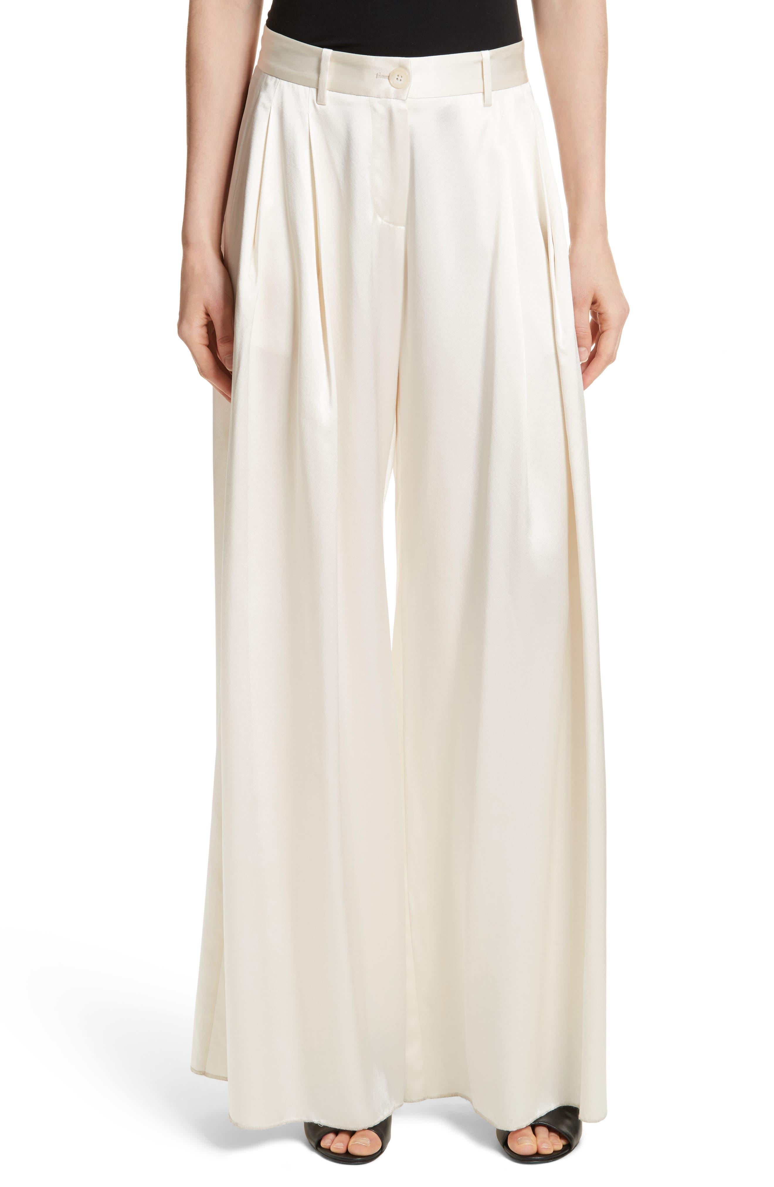Seville Wide Leg Silk Pants,                         Main,                         color, Ivory