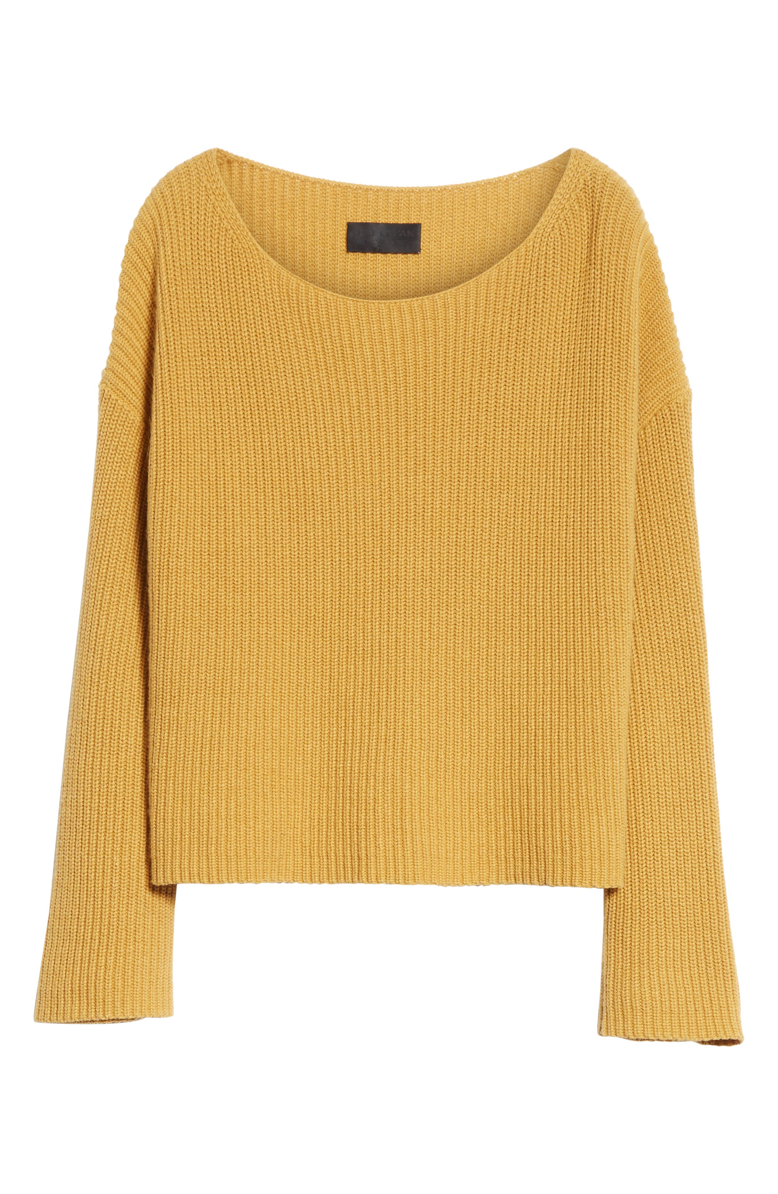 Martindale Ribbed Cotton, Cashmere & Silk Sweater,                             Alternate thumbnail 6, color,                             Mustard