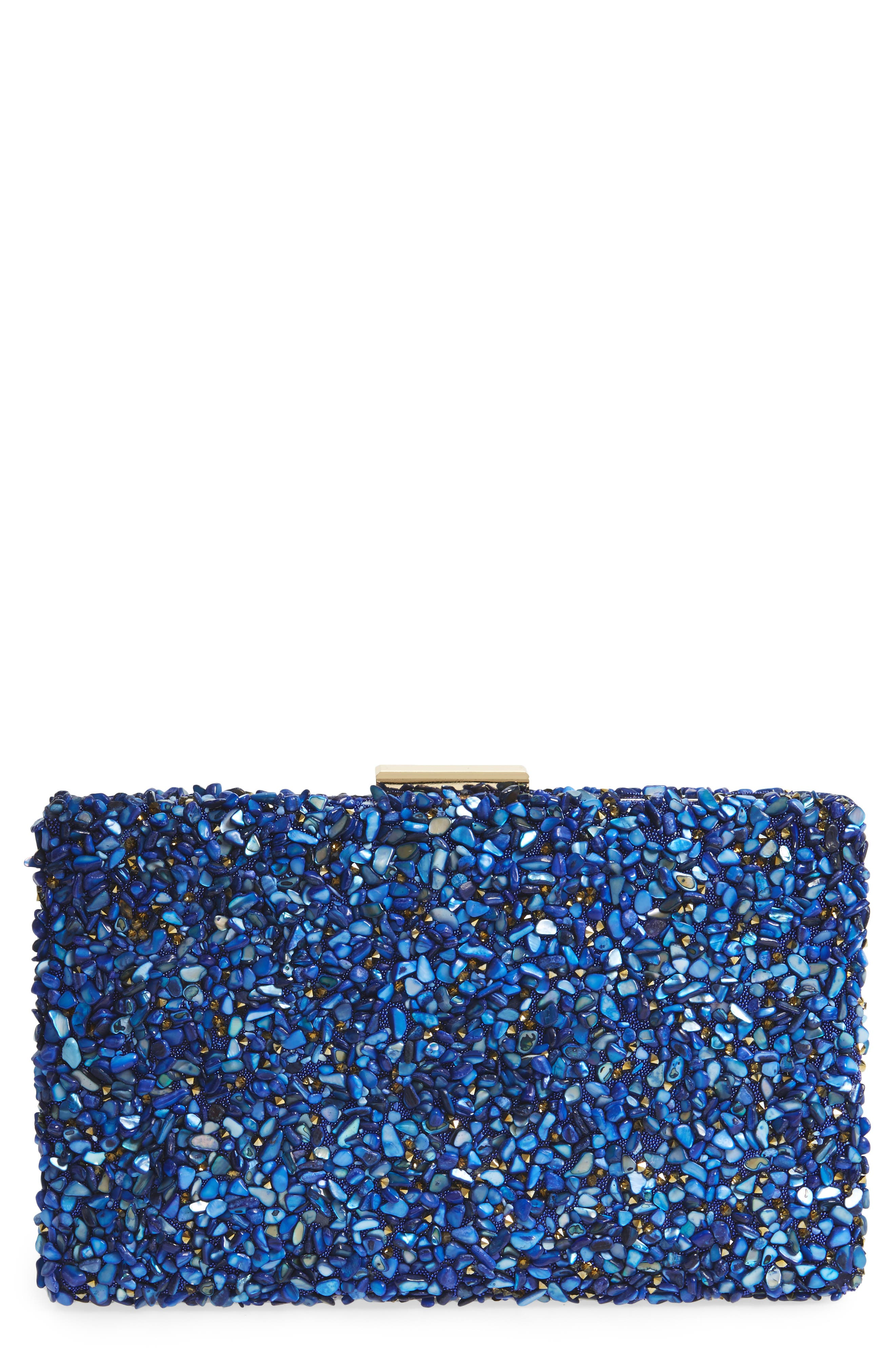 Chips Embellished Box Clutch,                             Main thumbnail 1, color,                             Gold/ Blue